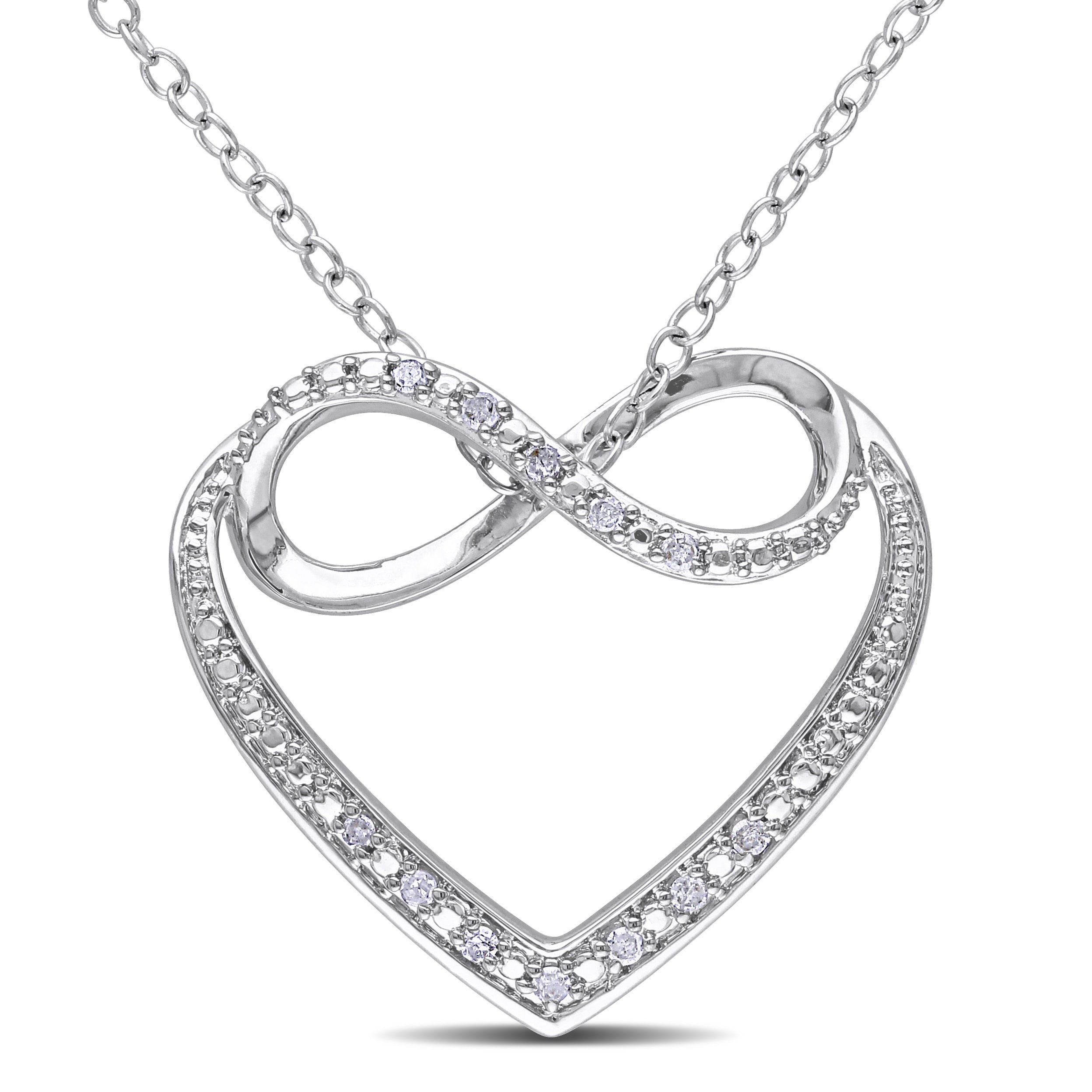 sterling heart product watches shipping diamond orders overstock miadora over jewelry free necklace on infinity accent silver
