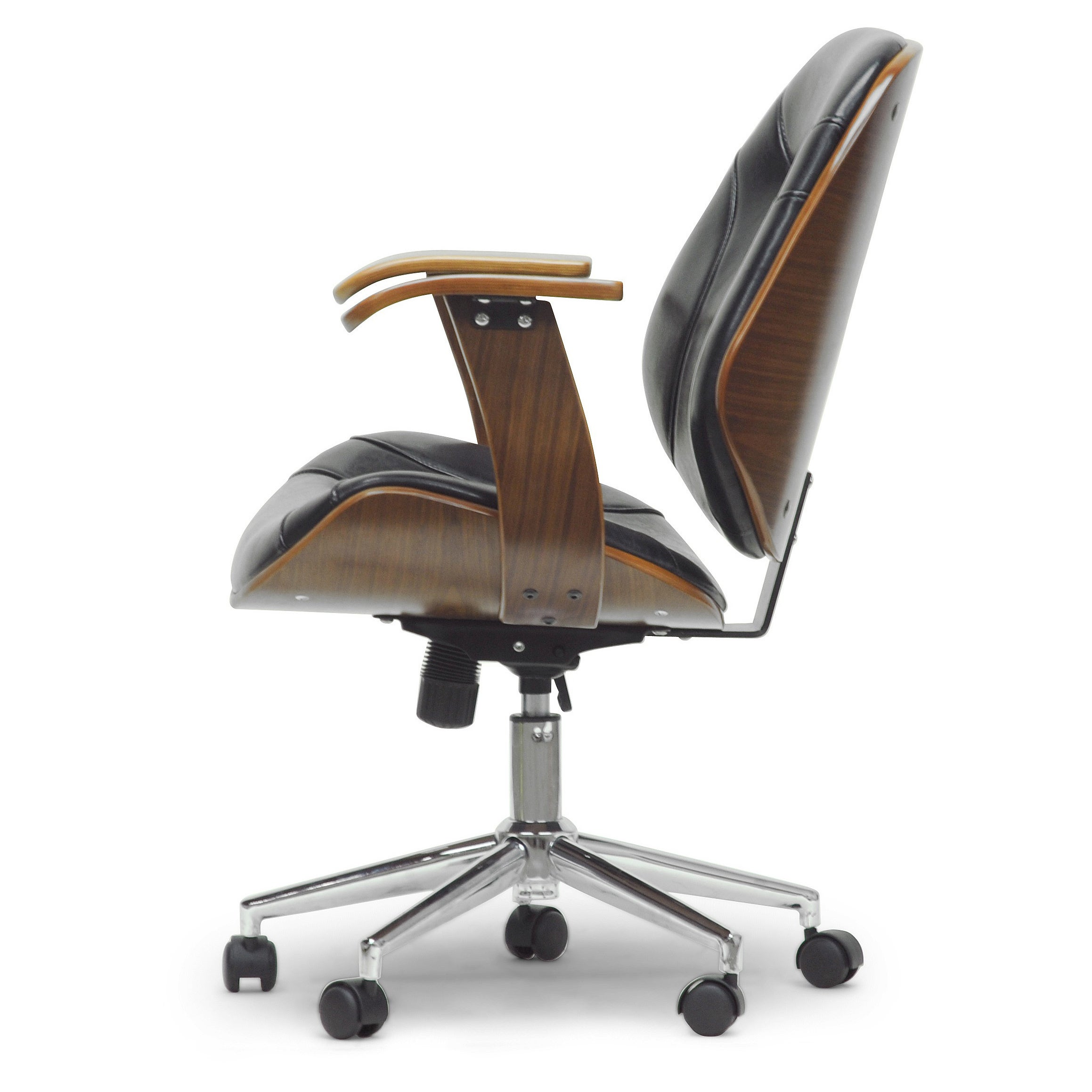 Baxton Studio Rathburn Walnut Frame Black Or White Faux Leather Modern Office Chair Free Shipping Today 8447993