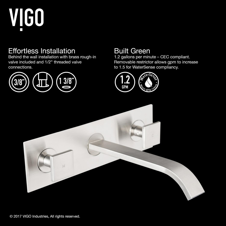 Shop VIGO Titus Bathroom Wall Mount Faucet in Brushed Nickel - On ...