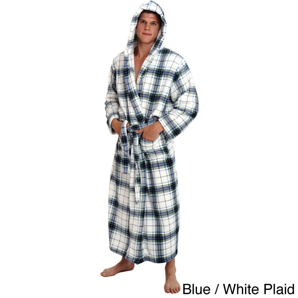 f462c92056 Shop Del Rossa Men s Full Length Hooded Fleece Bath Robe - Free Shipping  Today - Overstock - 8448461