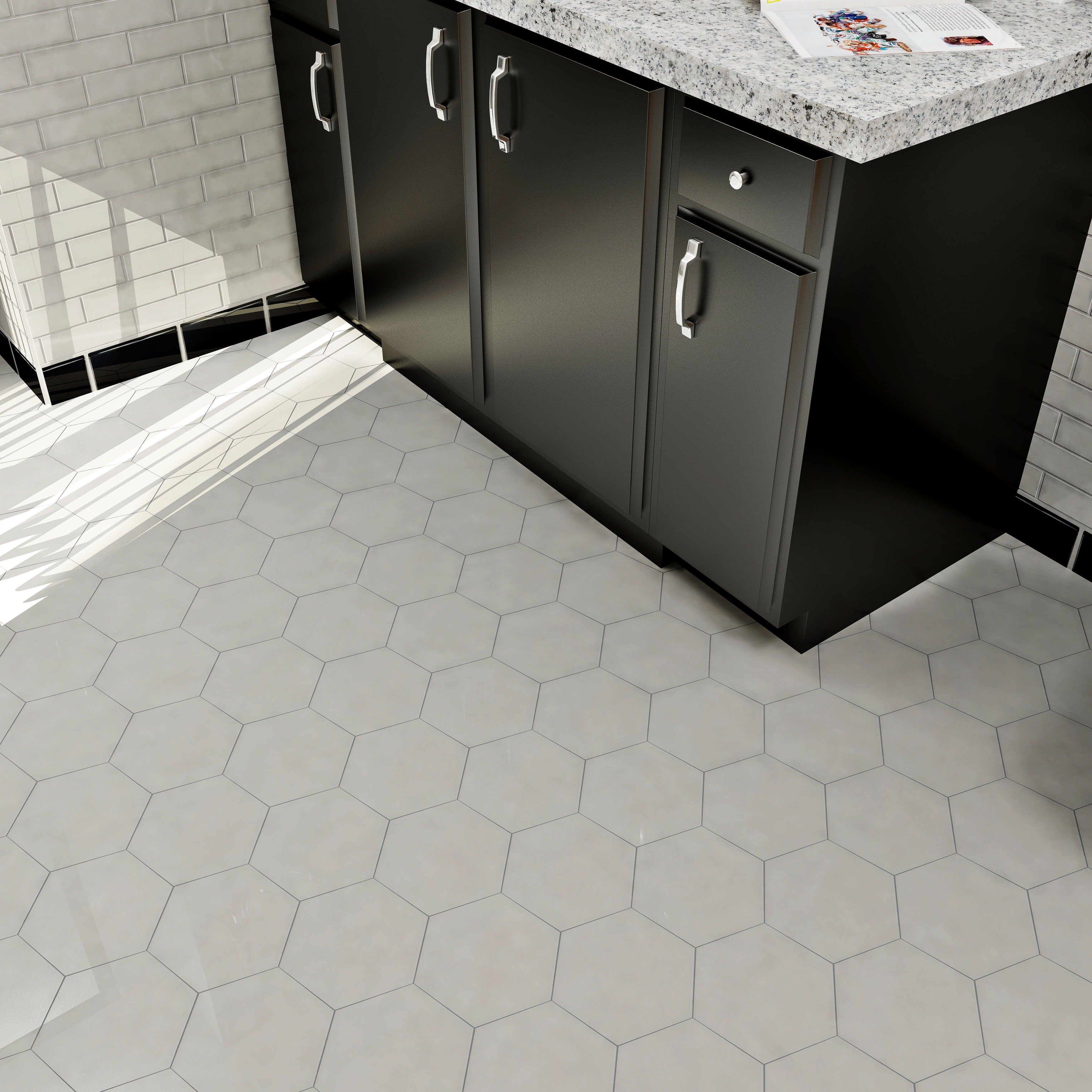Somertile 7x8 inch hextile glossy grey ceramic floor and wall tile somertile 7x8 inch hextile glossy grey ceramic floor and wall tile 14 tiles44 sqft free shipping on orders over 45 overstock 15742524 dailygadgetfo Choice Image
