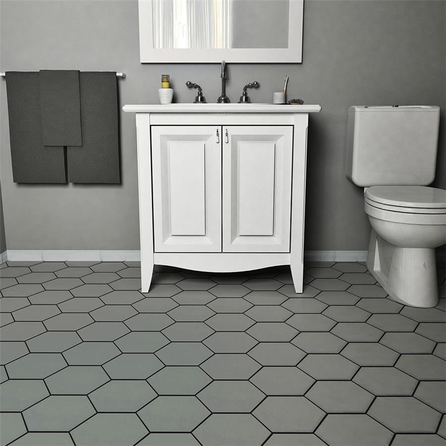 Somertile 7x8 Inch Hextile Matte Gris Porcelain Floor And Wall Tile 14 Tiles 4 Sqft Free Shipping On Orders Over 45 8448803
