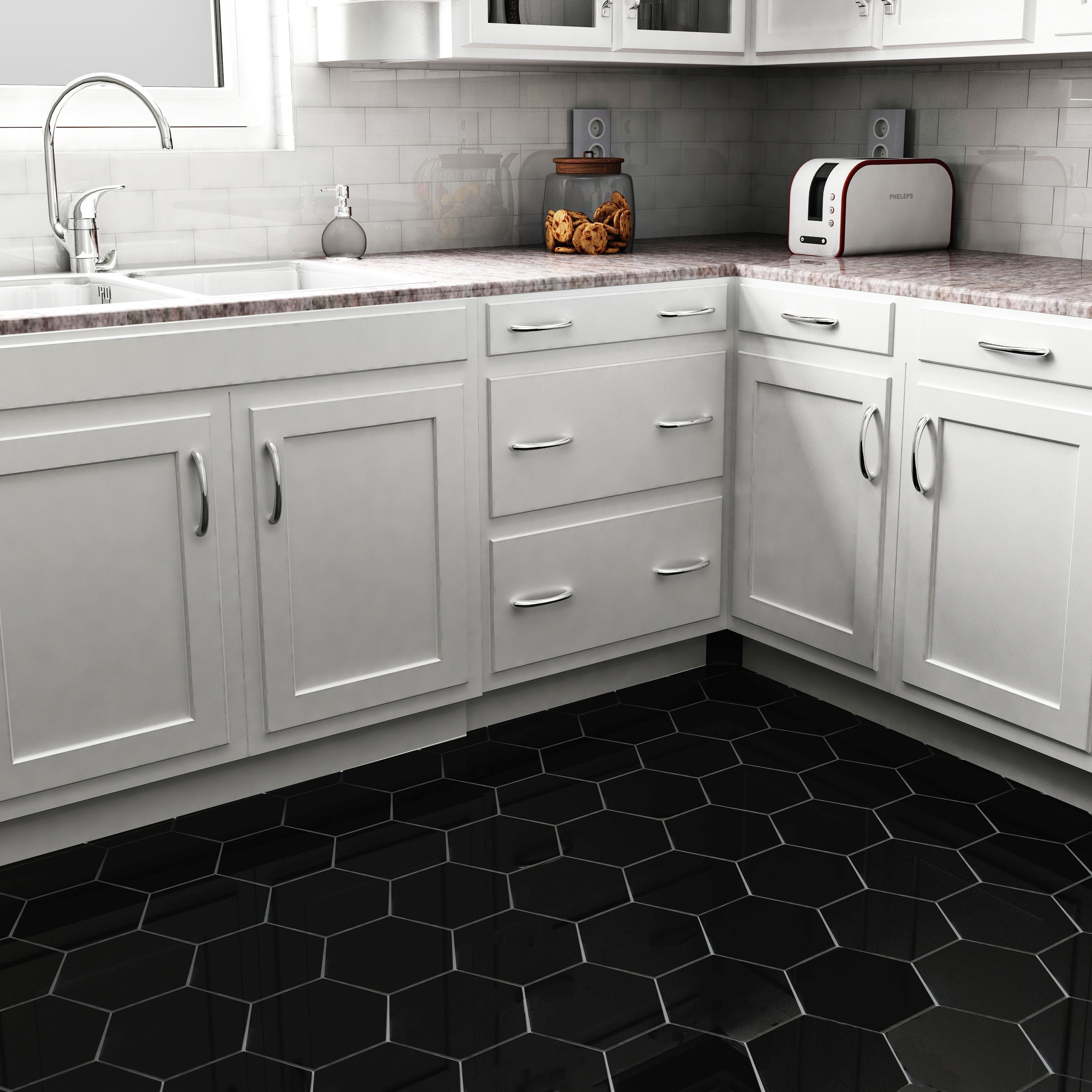 Somertile 7x8 inch hextile matte black porcelain floor and wall somertile 7x8 inch hextile matte black porcelain floor and wall tile case of 14 free shipping on orders over 45 overstock 15742538 dailygadgetfo Gallery