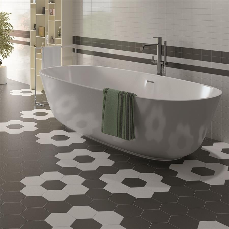 Shop SomerTile 7x8-inch Hextile Matte Nero Porcelain Floor and Wall ...