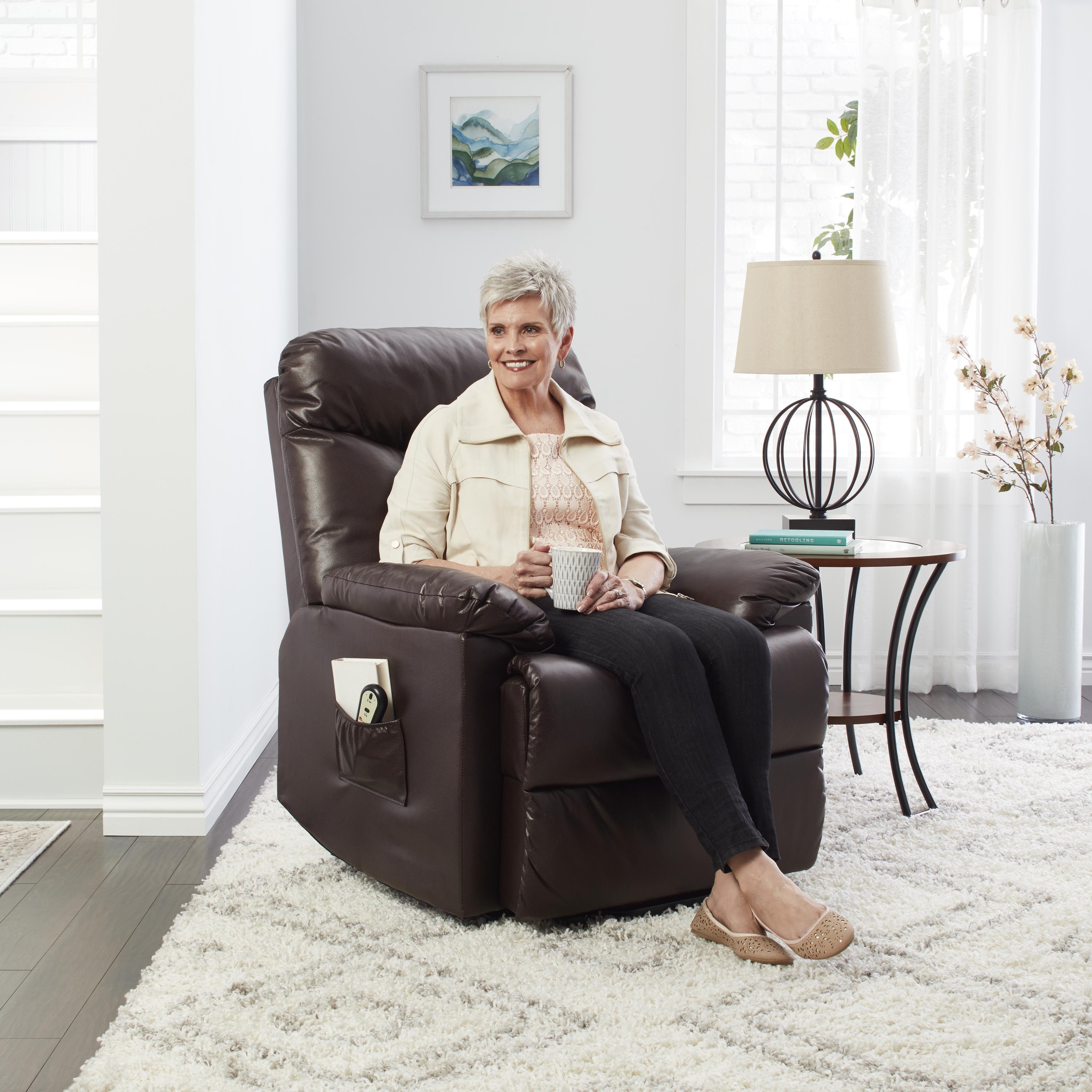 ProLounger Lya Brown Leather Power Recline and Lift Wall Hugger Chair -  Free Shipping Today - Overstock.com - 15746816