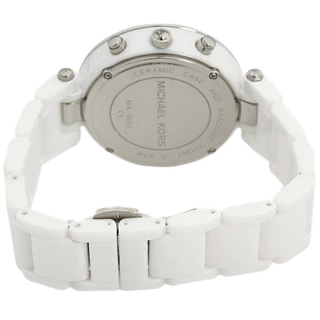 67f114cf5 Shop Michael Kors Women's MK5654 'Parker' White Ceramic Chronograph Watch - Free  Shipping Today - Overstock - 8458860