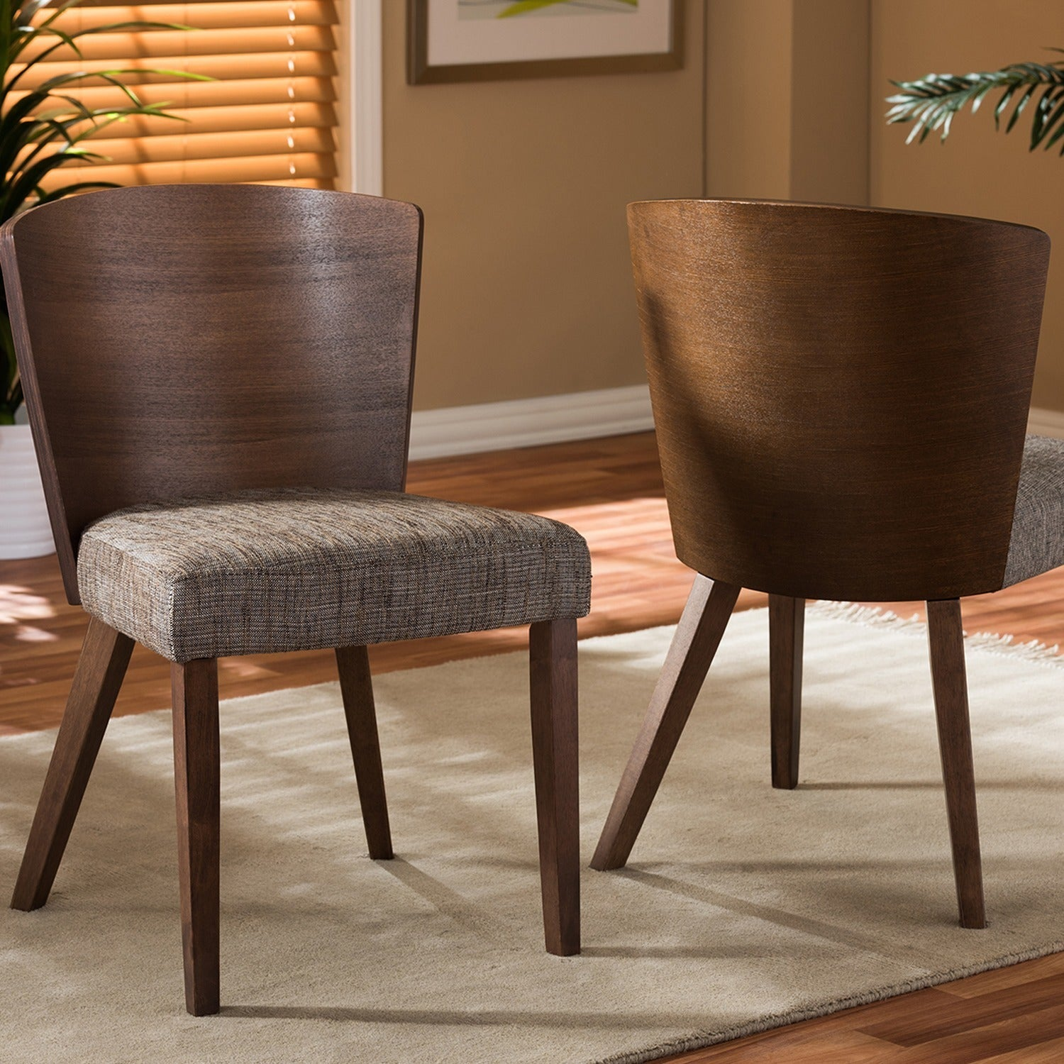 Shop Baxton Studio Mid Century 2 Piece Gravel Brown/Grey Fabric And Walnut  Wood Dining Chair Set   On Sale   Free Shipping Today   Overstock.com    8458975