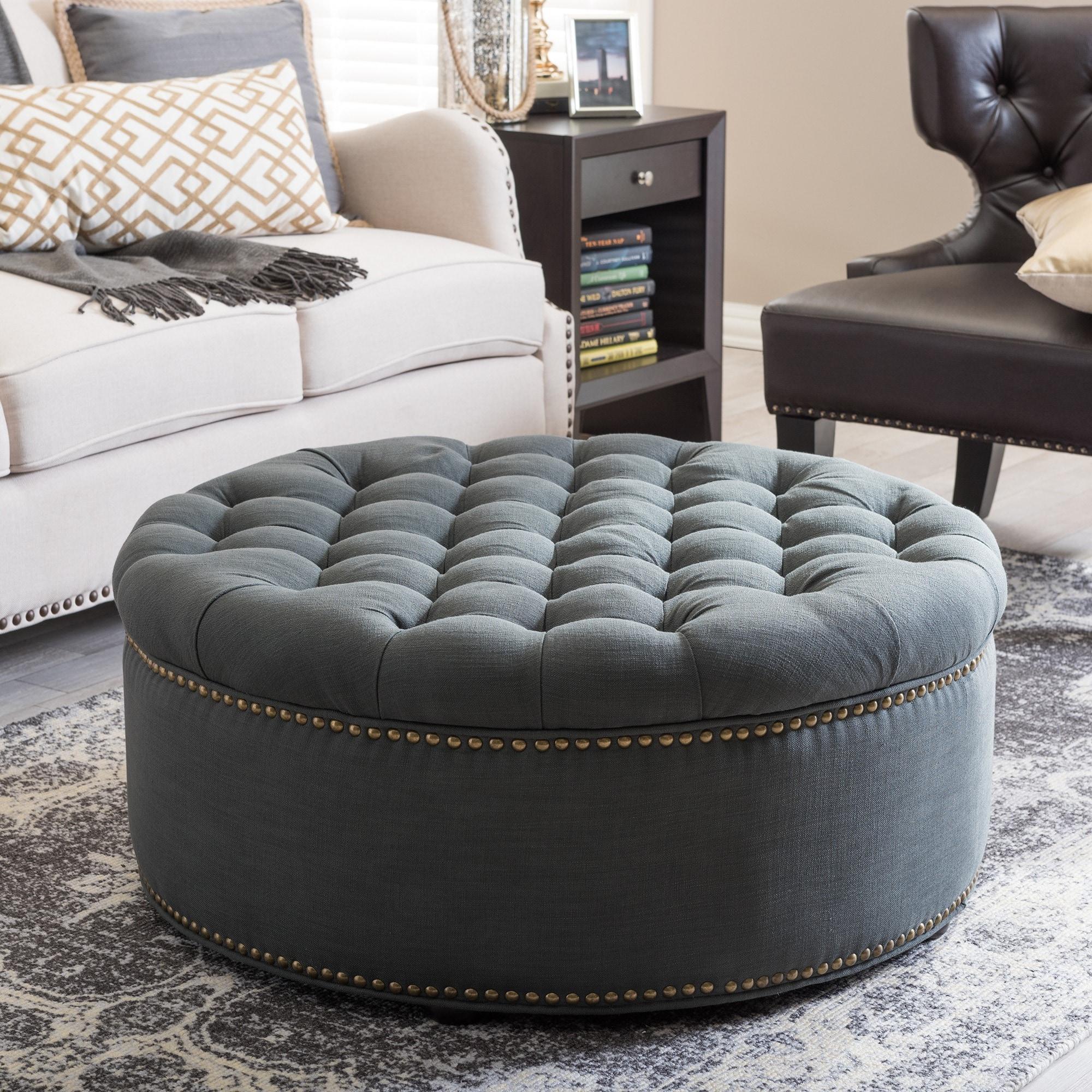 Shop baxton studio iglehart grey linen modern tufted ottoman free shipping today overstock com 8463100