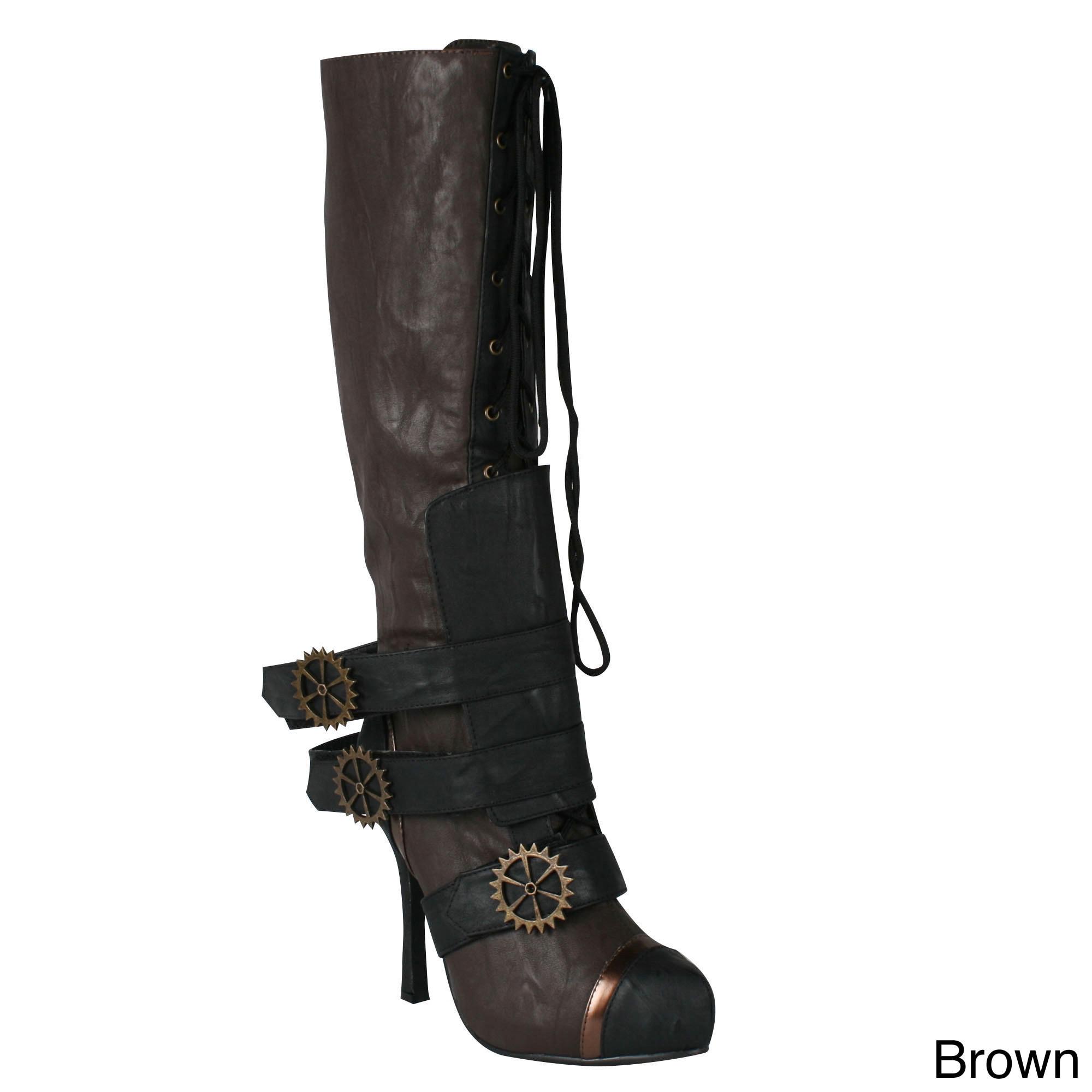 8bce4bbcd58 Shop Ellie Women s  420-Quinley  Knee High Steampunk Boot - Free ...