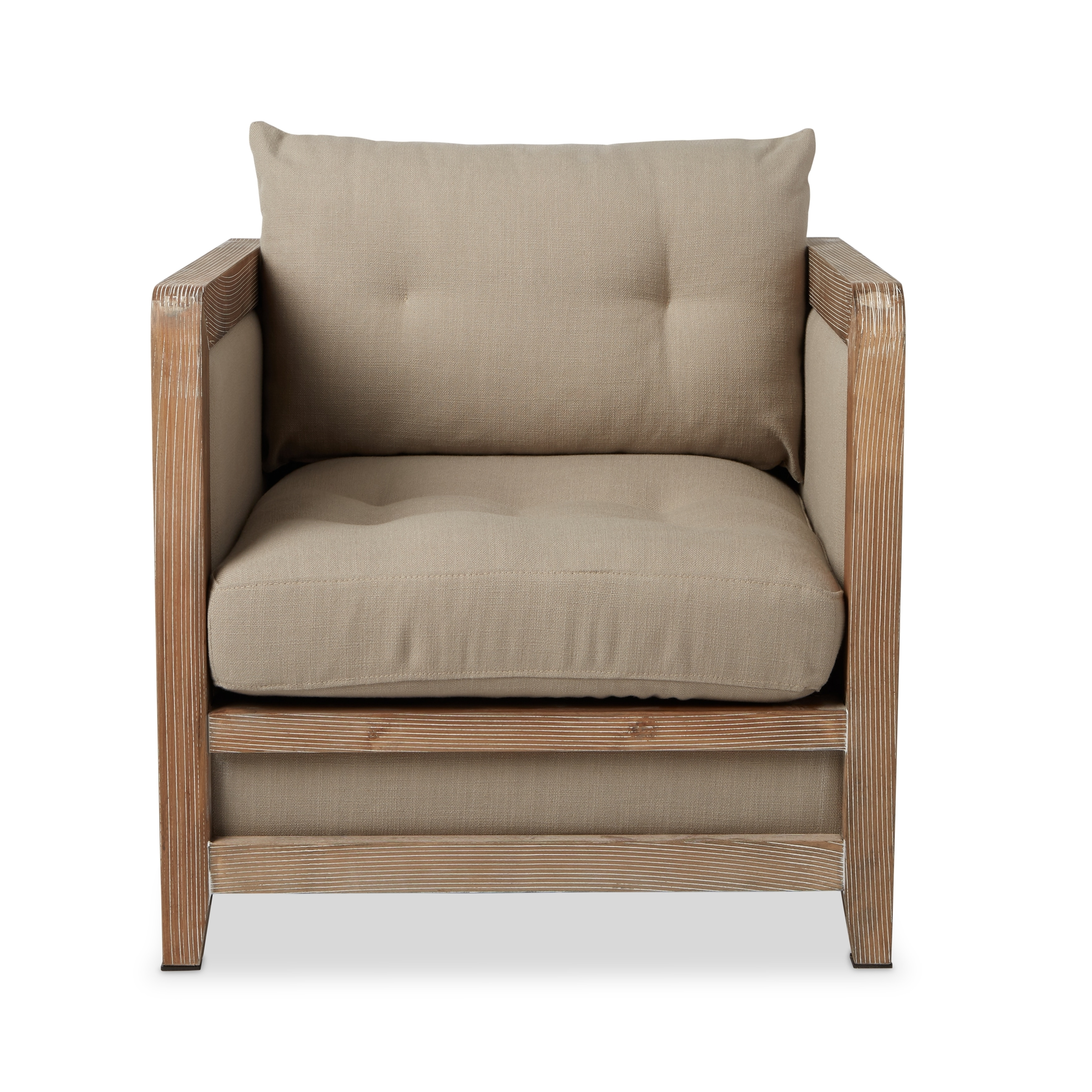 Shop Havenside Home Creston Beige Linen Reclaimed Finish Armchair   Free  Shipping Today   Overstock.com   8471569