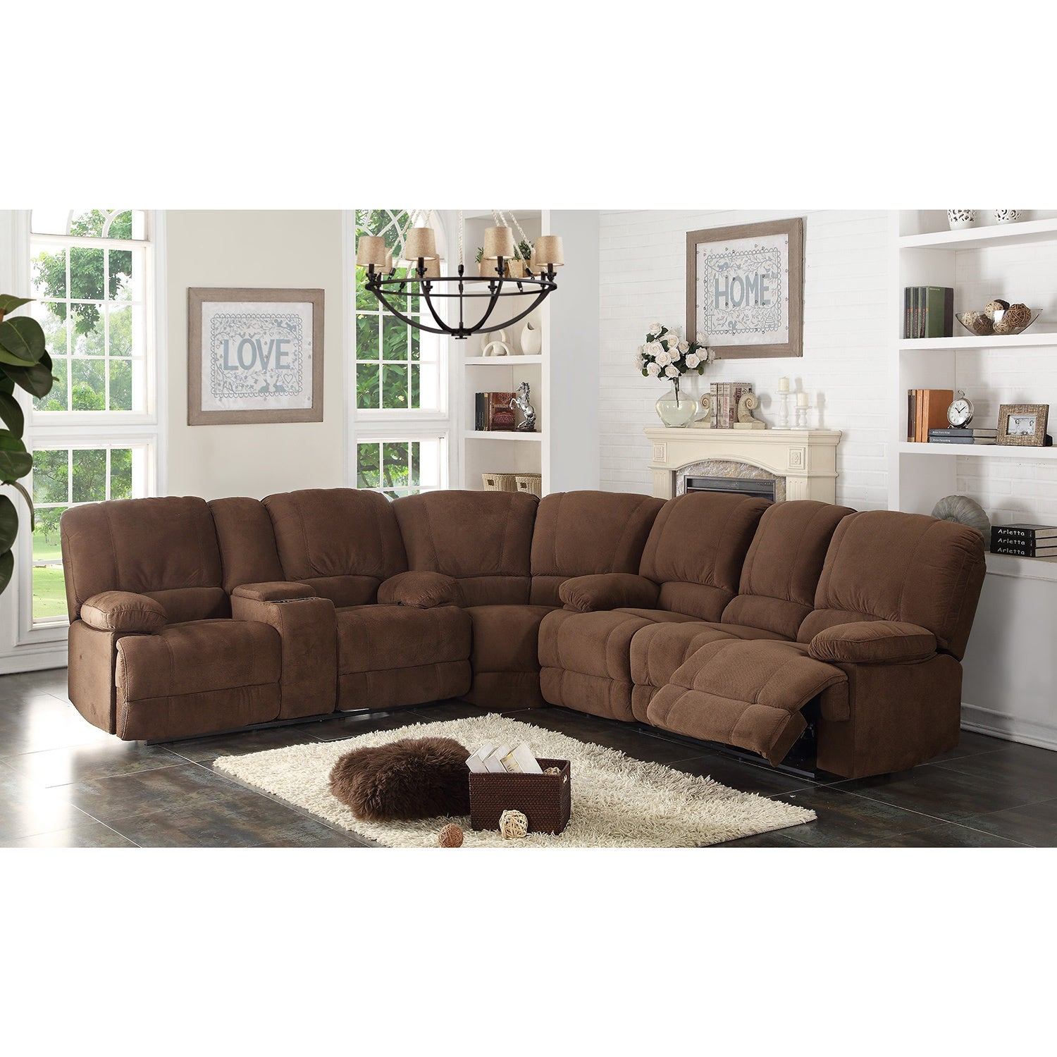 Kevin Sectional Transitional Sofa Loveseat Wedge 3 Piece Set  ~ How To Measure A Sectional Sofa With Wedge