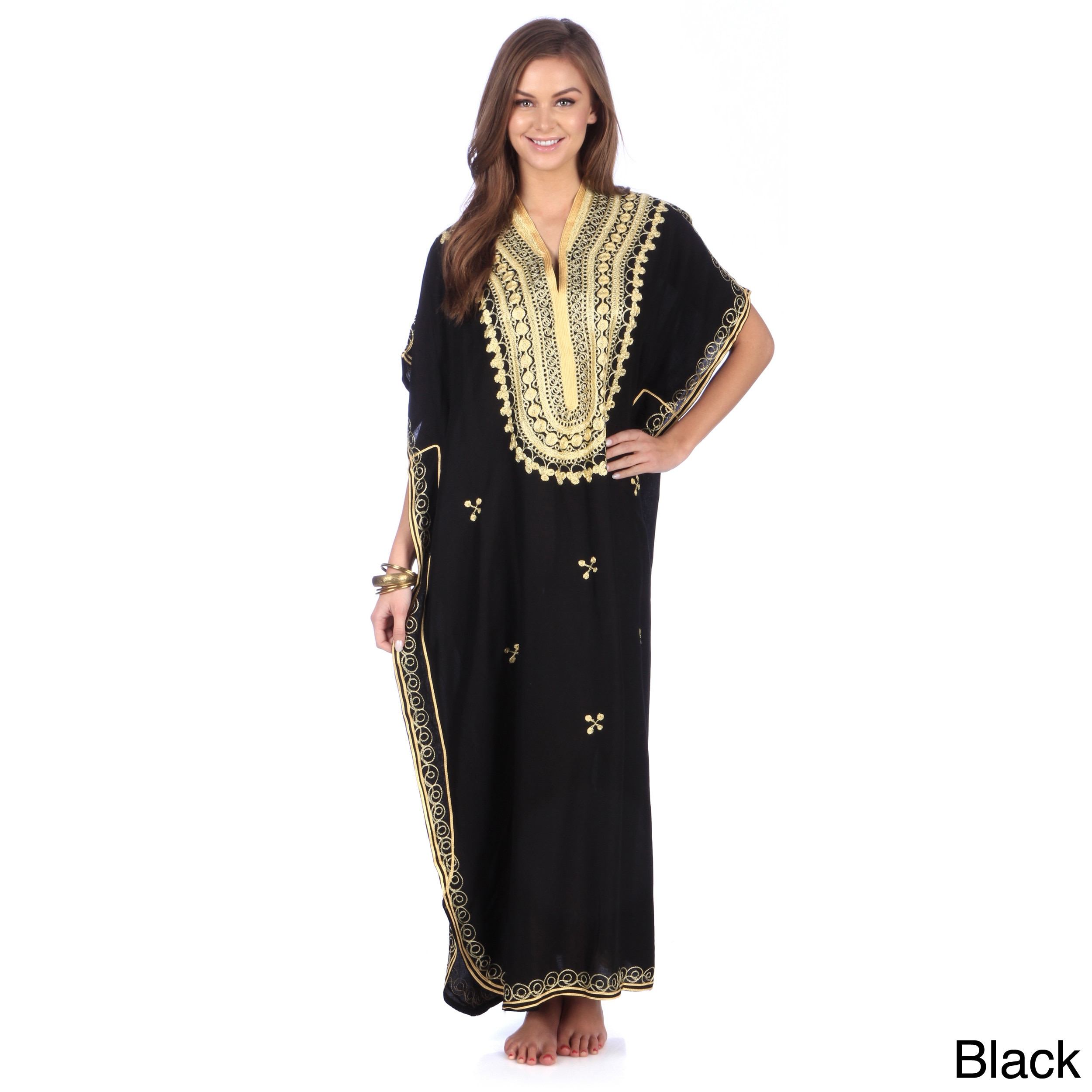 Moroccan Handmade Women s Cotton Long Caftan with Gold Butterfly-shaped  Hand Embroidered Fiber 0f1fdc3427e