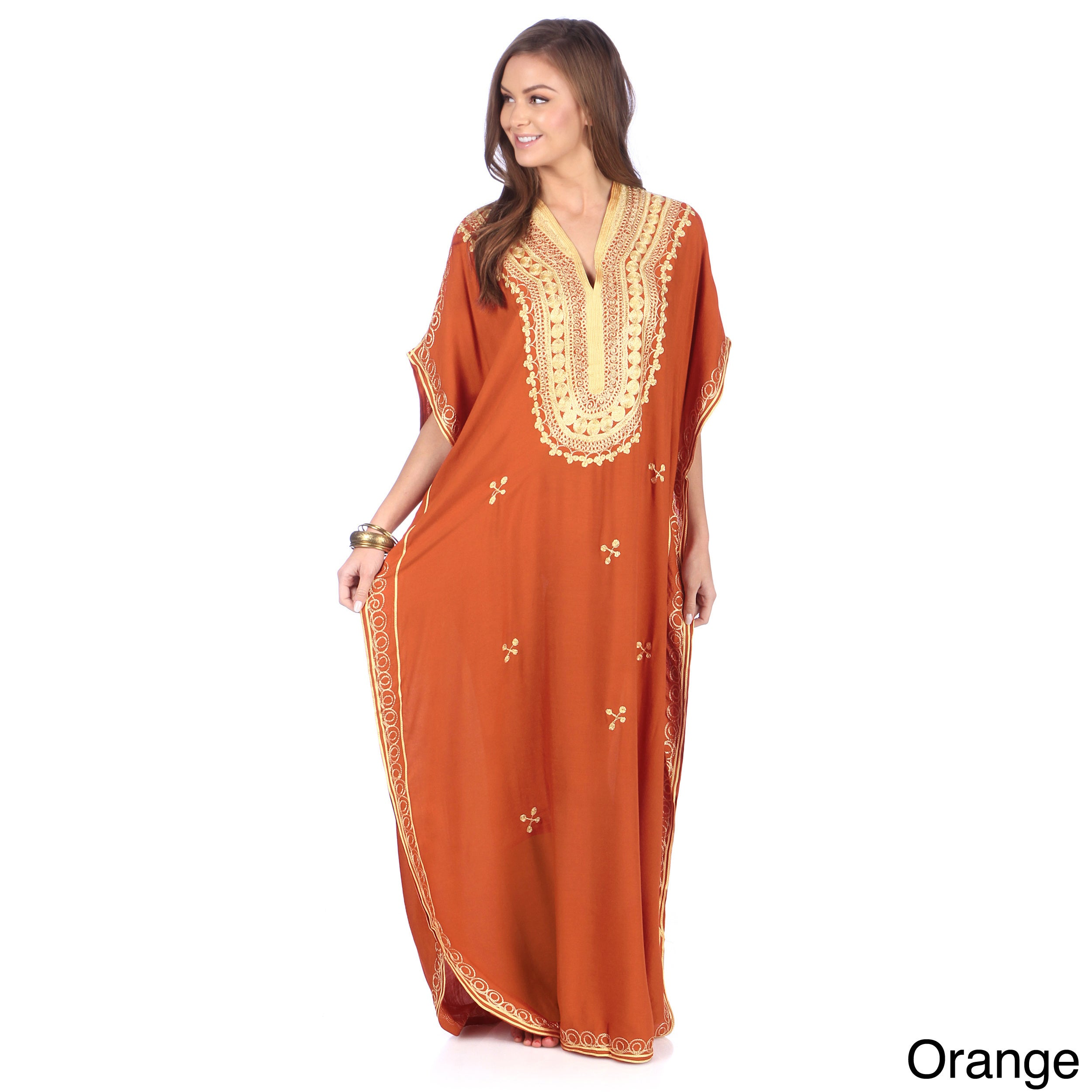 Moroccan Handmade Women s Cotton Long Caftan with Gold Butterfly-shaped  Hand Embroidered Fiber 187e2aa68
