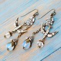 Sweet Romance Moonstone Flower Aurora Crystal Bird Boho Earrings