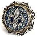Sweet Romance Fleur De Lis French Crystal Vintage Ring