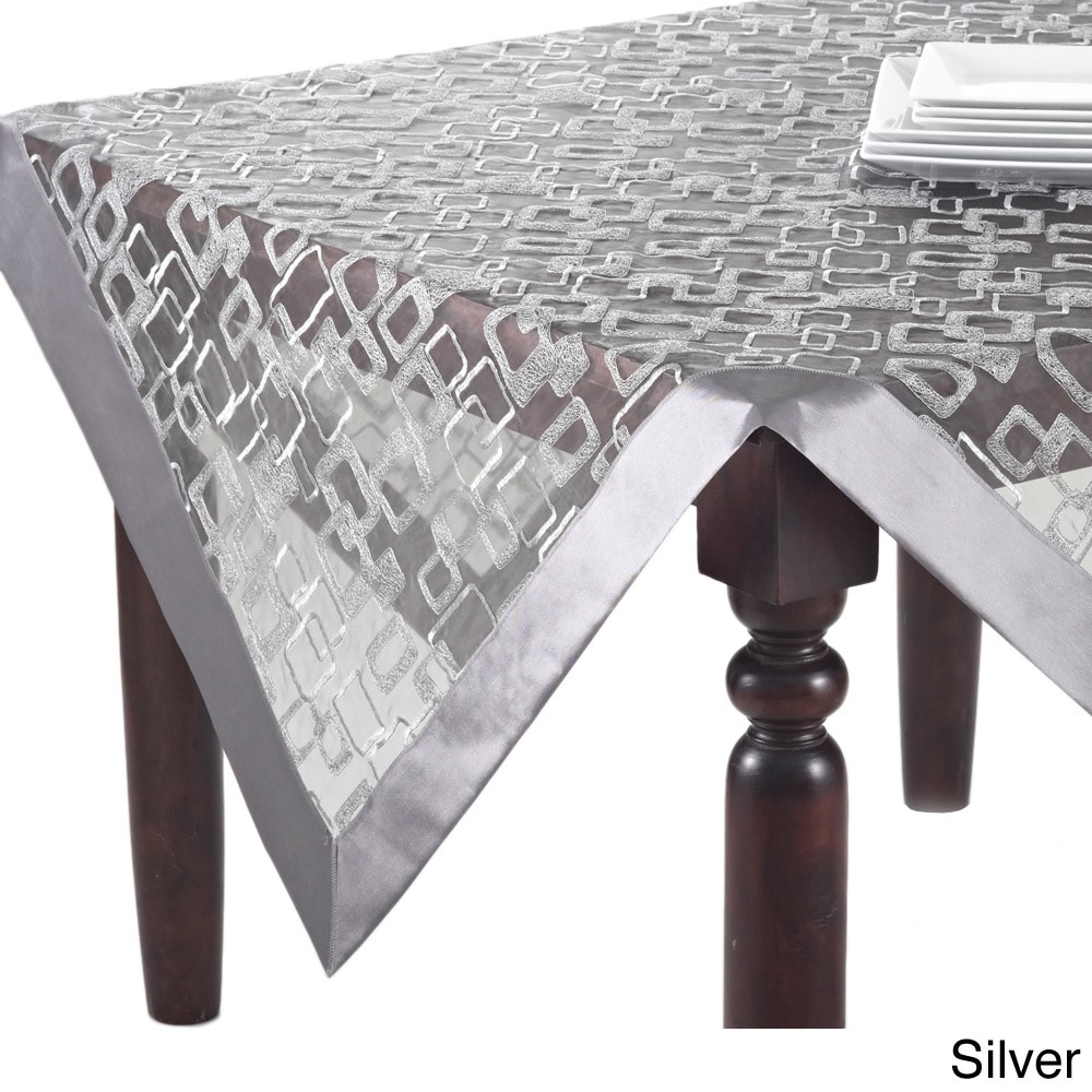 Ordinaire Shop Off White/Silvertone Geometric Design Table Topper, Runner, Or  Tablecloth   On Sale   Free Shipping On Orders Over $45   Overstock.com    8480990