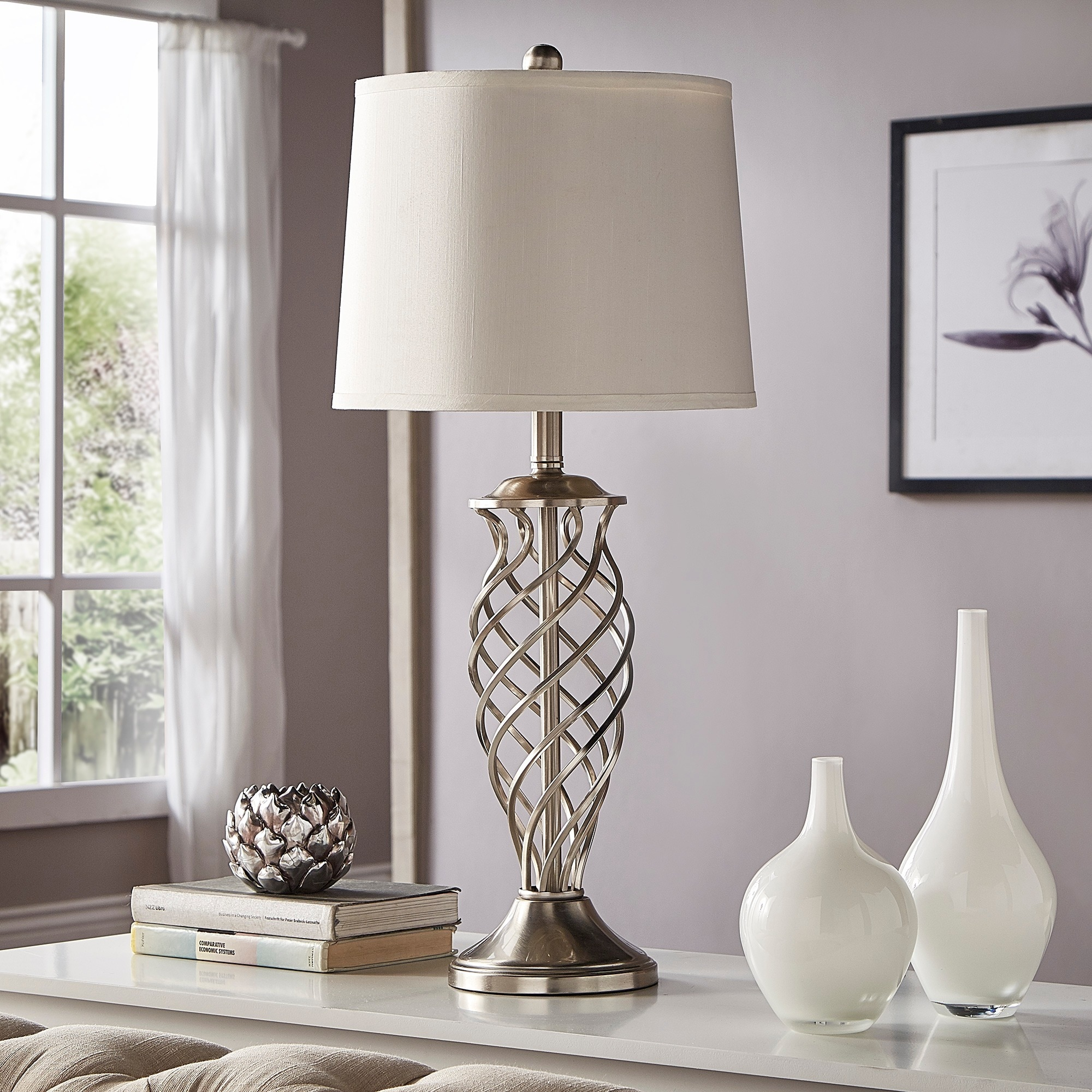 Cornelia 3 way satin nickel contoured cage base 1 light accent table lamp by inspire q bold