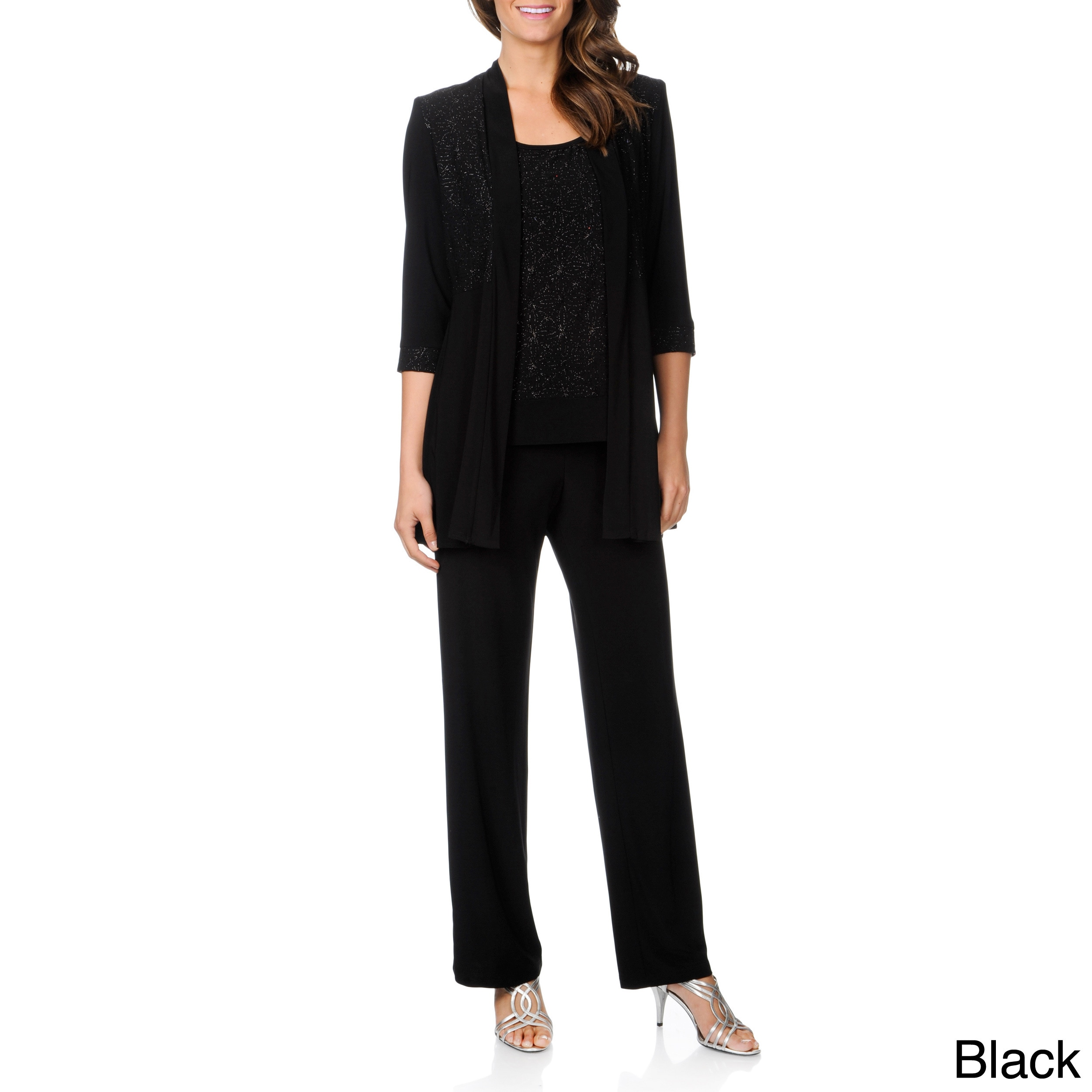 9ad3148fca95 Shop R M Richards Women s Mock 2-piece Pant Set - Free Shipping Today -  Overstock - 8481351