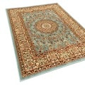 Pasha Collection Medallion Traditional Ocean Blue Area Rug (7'10 x 10'6)