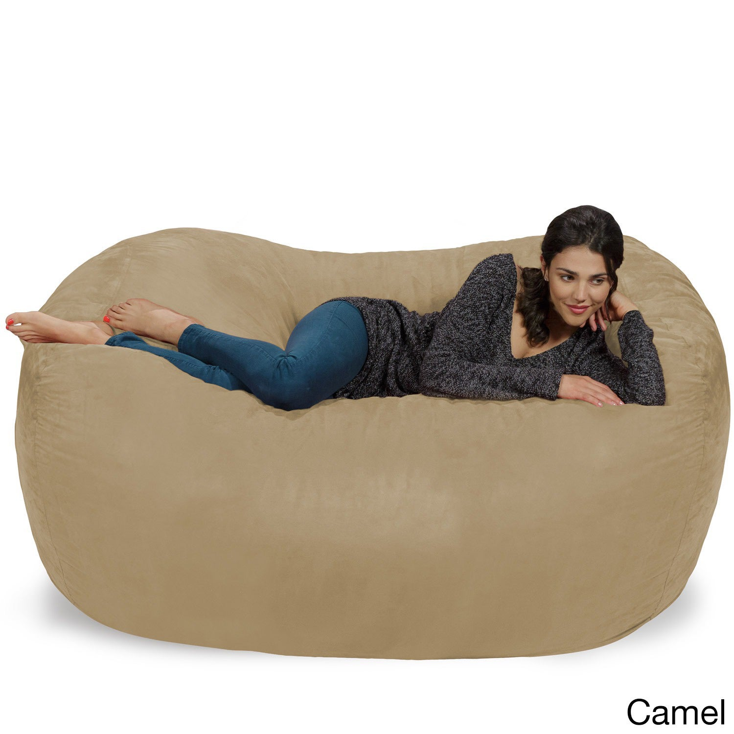 Shop Large Memory Foam Micro Suede Beanbag Couch   Free Shipping Today    Overstock.com   8486397