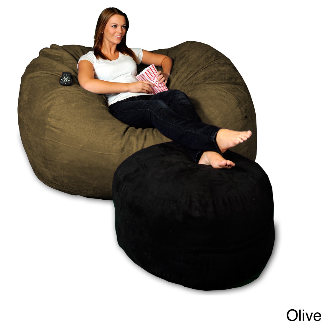 Shop 5 Foot Memory Foam Micro Suede Beanbag Chair Lounger   Free Shipping  Today   Overstock.com   8486907