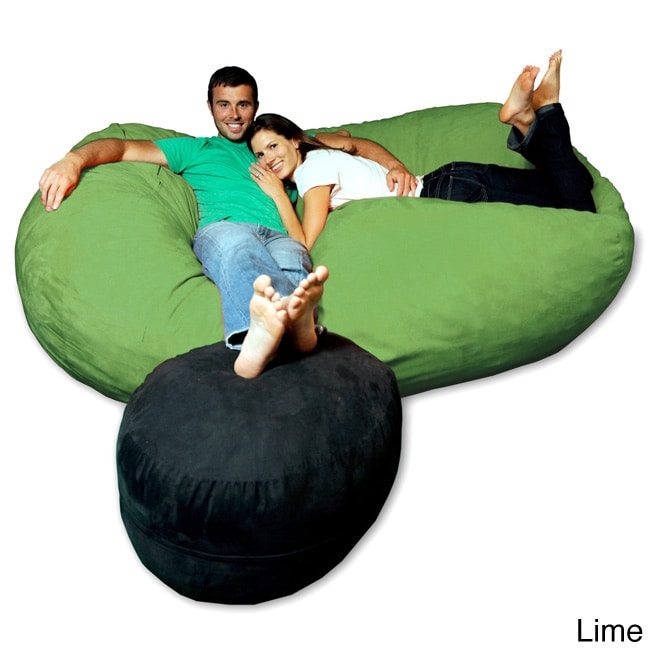 Shop Soft Memory Foam Microsuede 7.5 Foot Beanbag Chair Lounger   Free  Shipping Today   Overstock.com   8486920