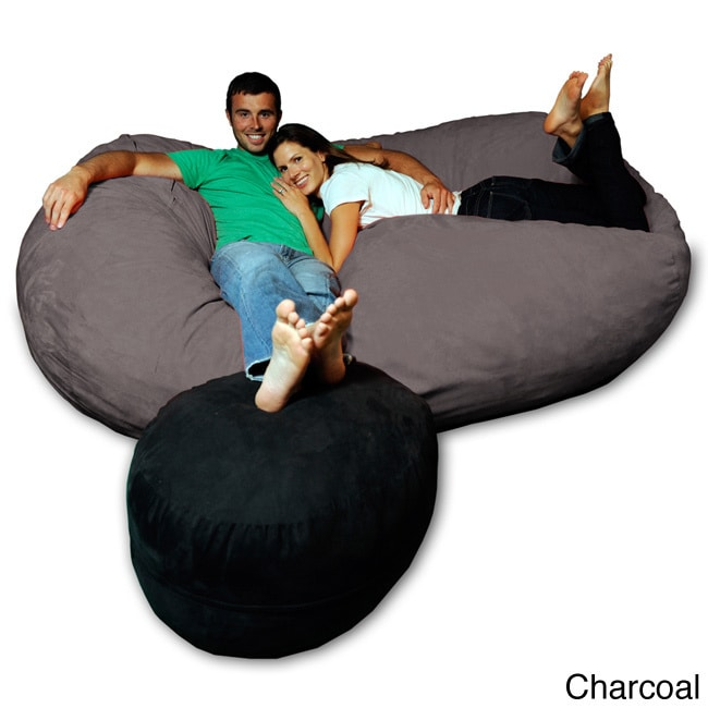 Exceptionnel Shop Soft Memory Foam Microsuede 7.5 Foot Beanbag Chair Lounger   Free  Shipping Today   Overstock.com   8486920