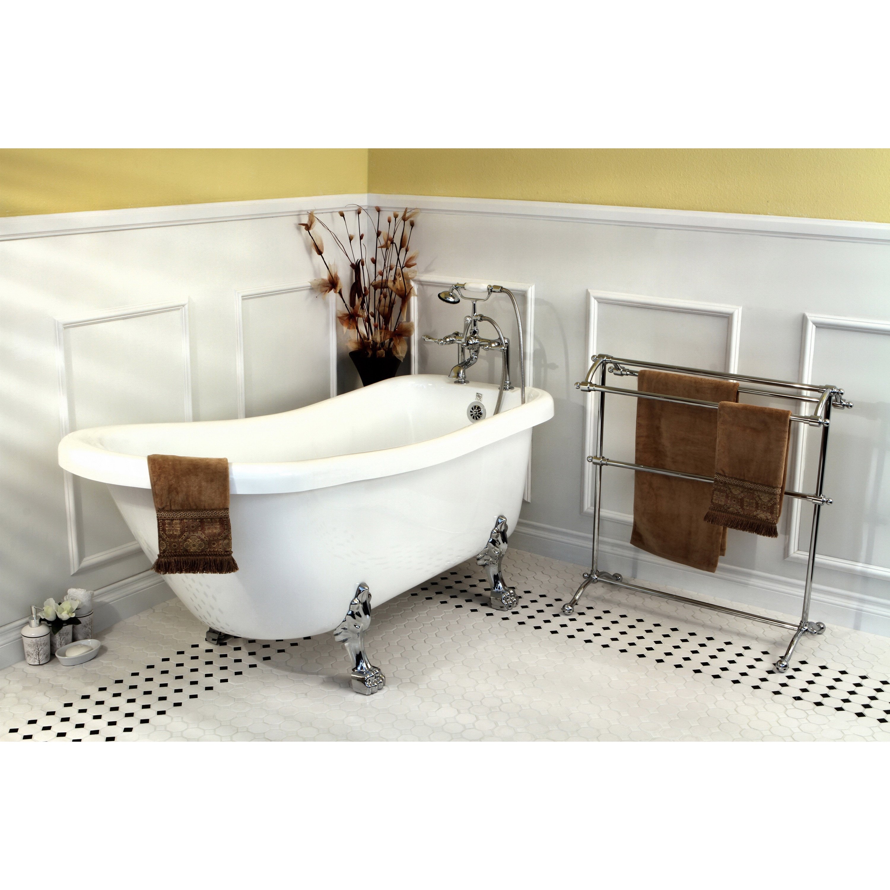 Shop Vintage Collection 67-inch Acrylic Slipper Clawfoot Tub and ...