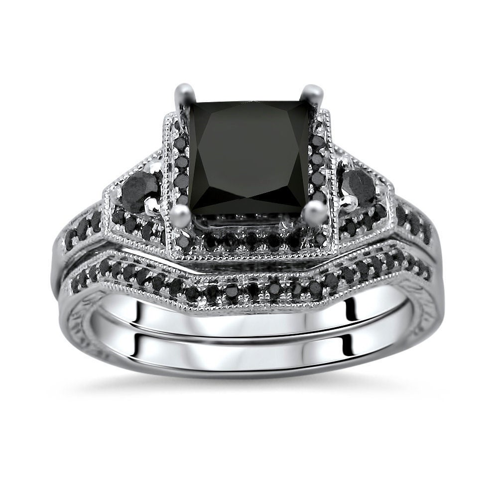 white black vanity jewelry with in ring wedding wg cushion rings diamond gold cut set sets flair nl