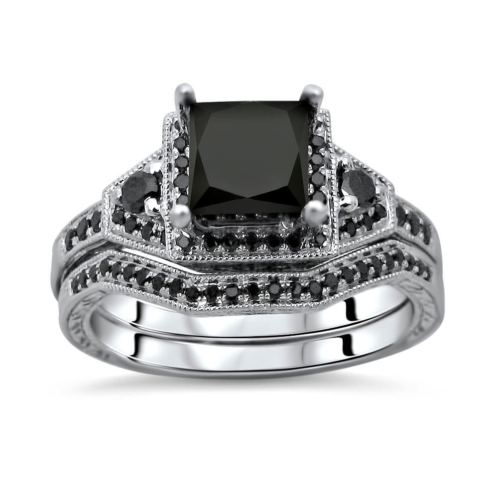 unique her bands wedding new him diamond for rings download trio size sets cut and full princess lovely ring with black
