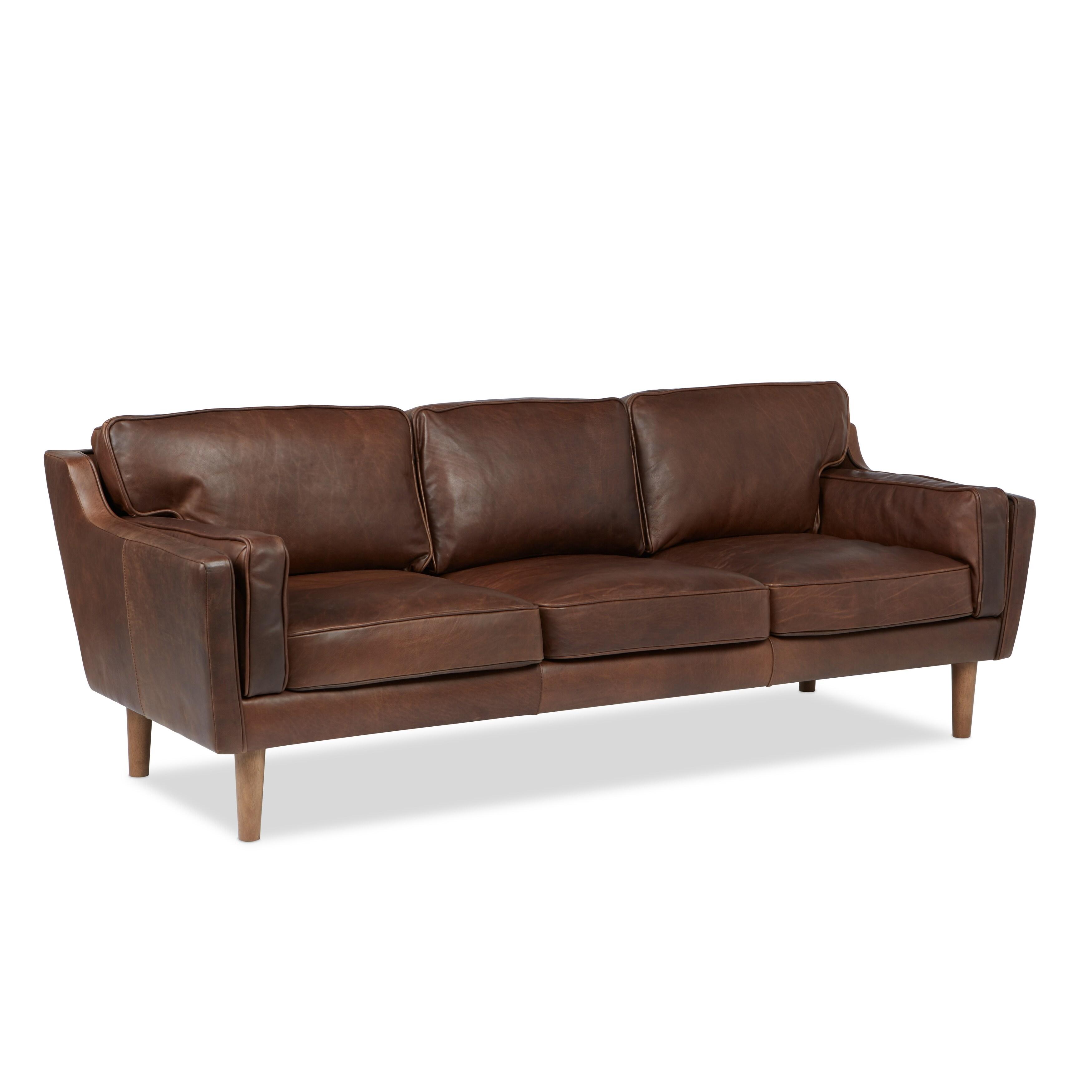 Jasper Laine Beatnik Leather Sofa Columbus Chocolate Free Shipping Today 8494277