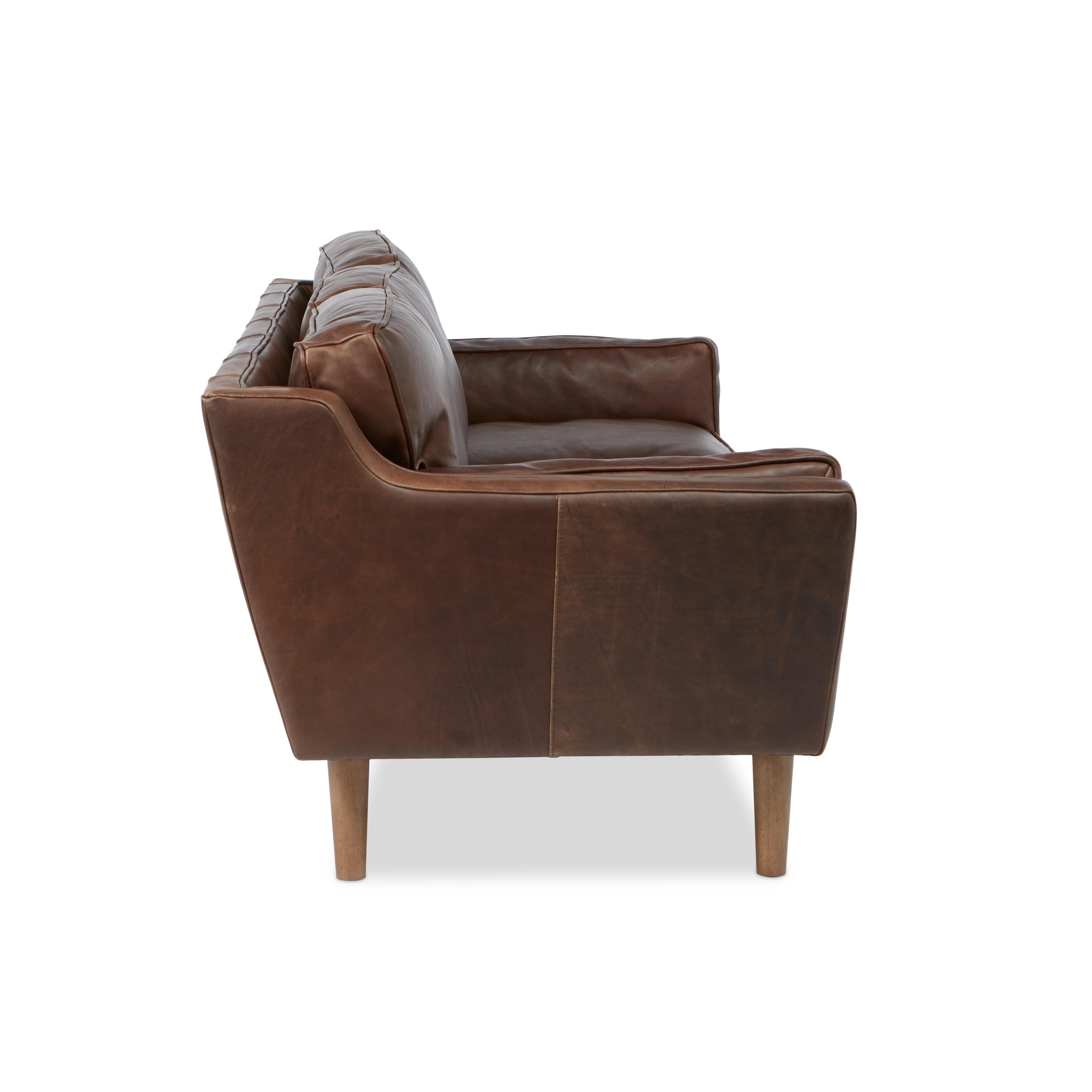 Jasper Laine Beatnik Leather Sofa Columbus Chocolate Ships To Canada Ca 8494277