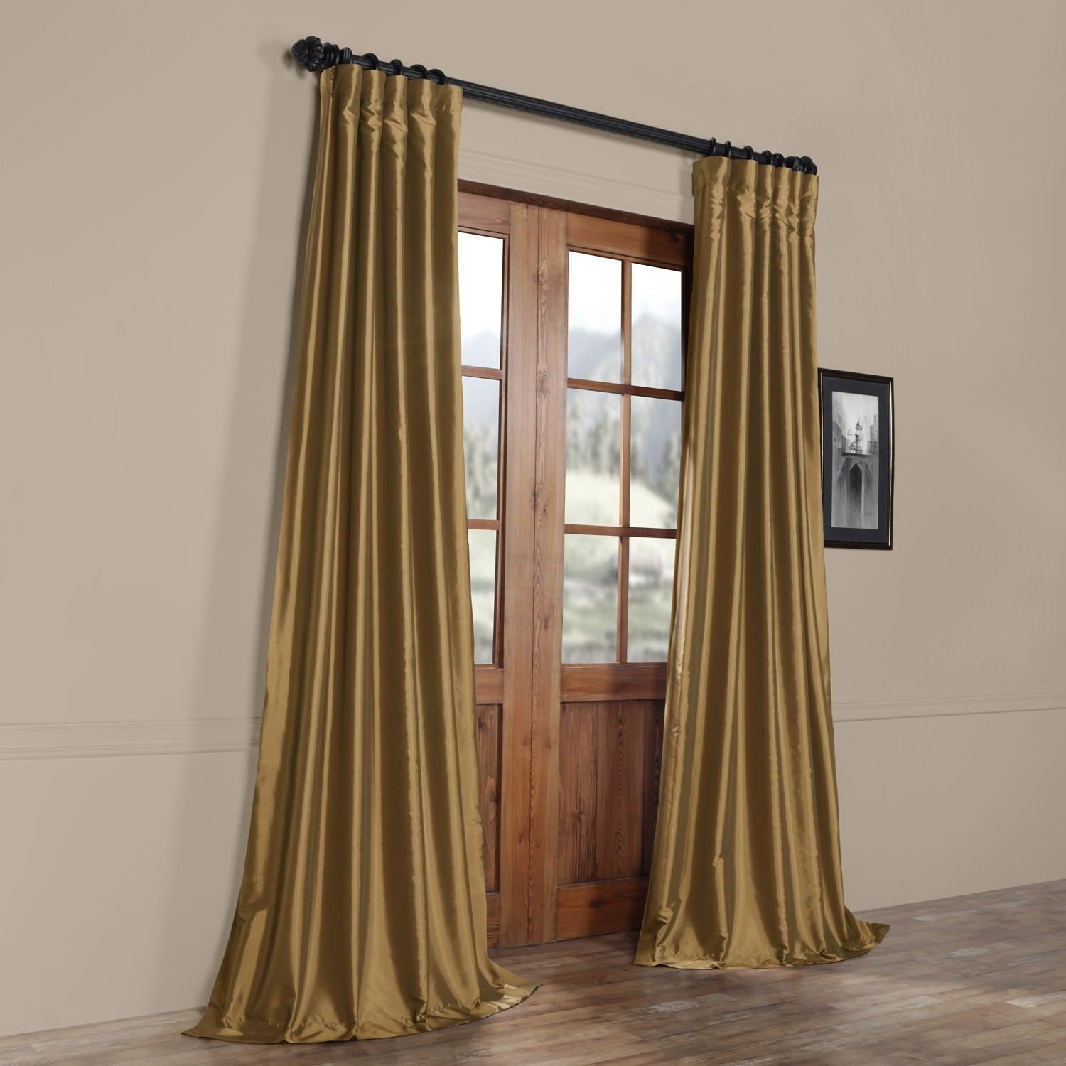 Exclusive Fabrics Gold Nugget Faux Silk Taffeta Curtain Panel   Free  Shipping Today   Overstock.com   15781070