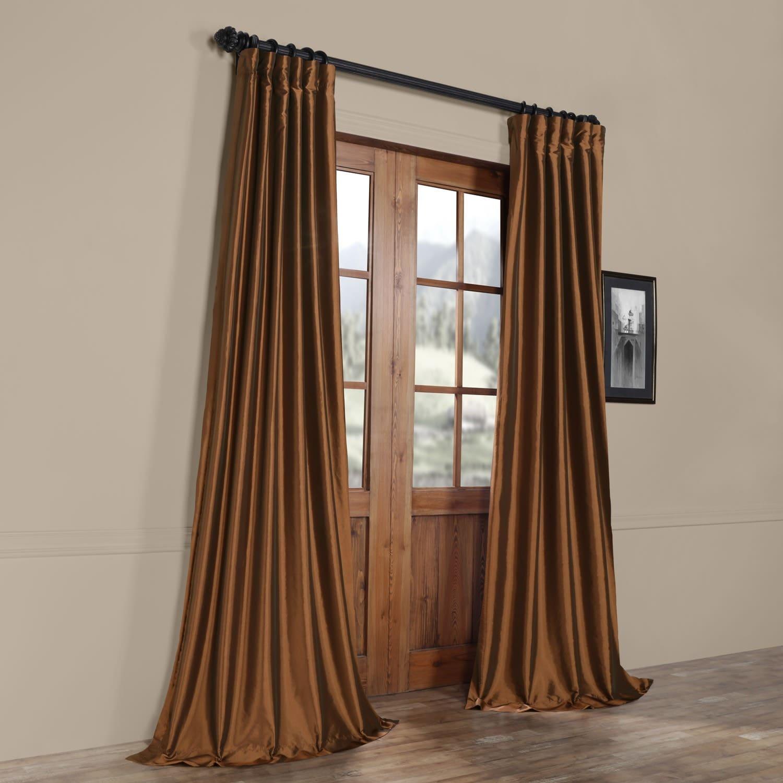 Relatively Exclusive Fabrics Copper Brown Faux Silk Taffeta Curtain Panel  JU68