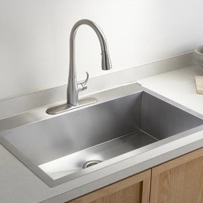 Stainless Steel Brushed Satin 33-inch Single Bowl Topmount Drop-in ...