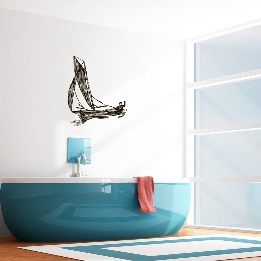 Shop U0027Man In A Boatu0027 Interior Vinyl Wall Decal   Free Shipping On Orders  Over $45   Overstock.com   8495184