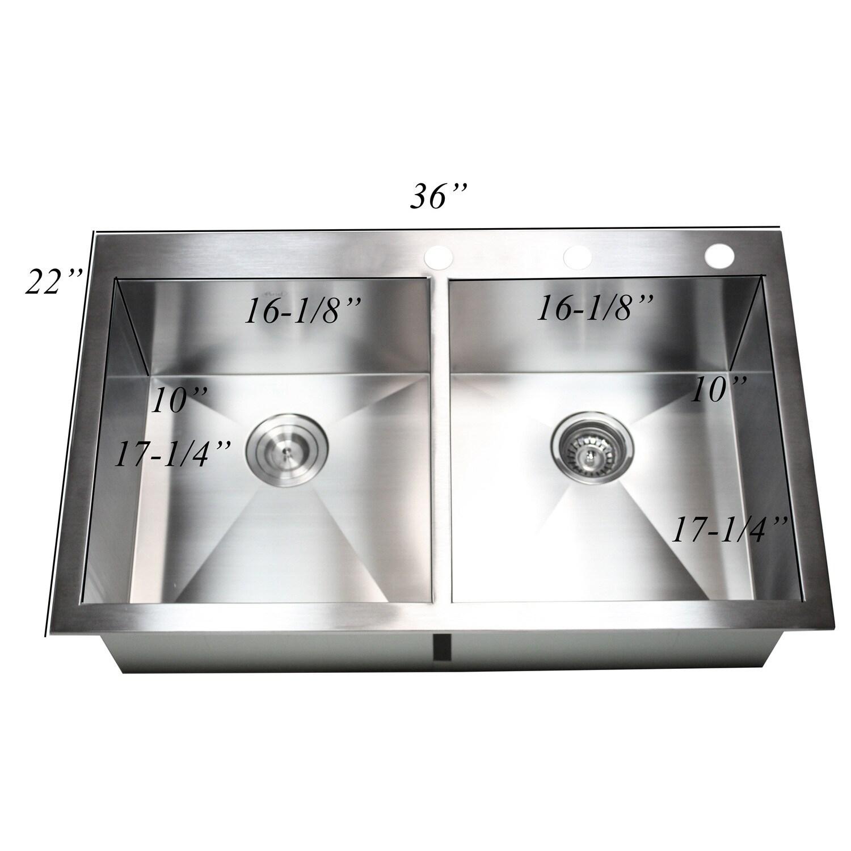 16 Gauge Stainless Steel Topmount/ Drop-in Zero Radius 36-inch ...