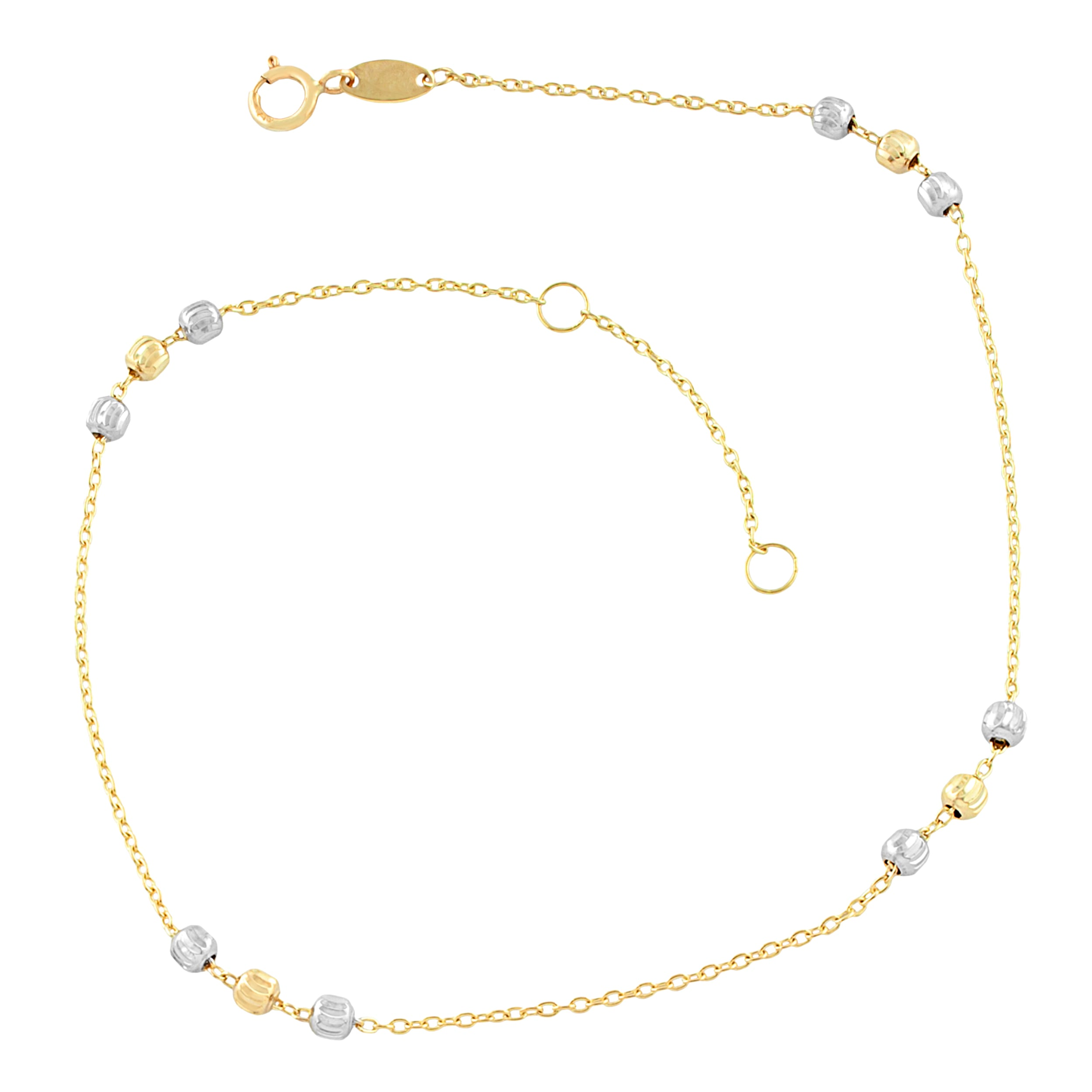 fremada pin yellow cut italian diamond wheat chain anklet gold round