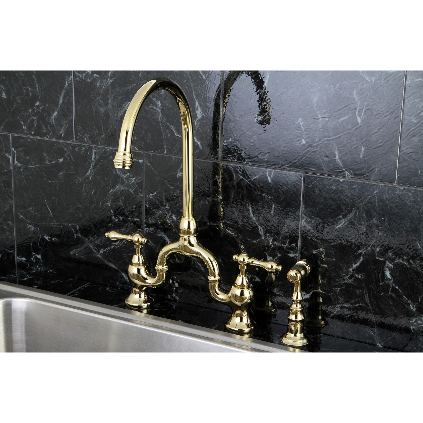 Vintage High spout Polished Brass Bridge Kitchen Faucet with Side