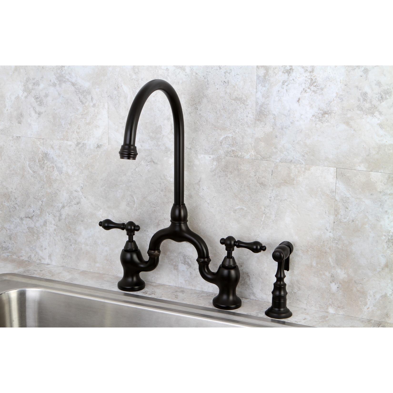 Bridge Kitchen Faucet With Side Spray | Shop Vintage High Spout Oil Rubbed Bronze Bridge Kitchen Faucet With
