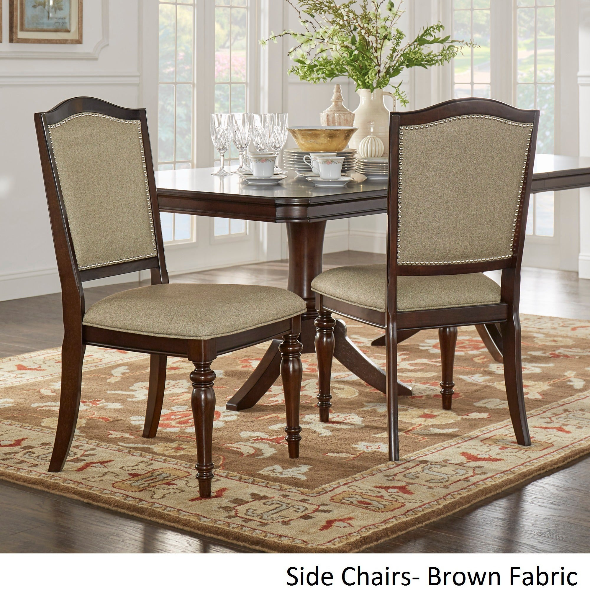 LaSalle Espresso Pedestal Extending Table Dining Set By INSPIRE Q Classic    Free Shipping Today   Overstock.com   15789207