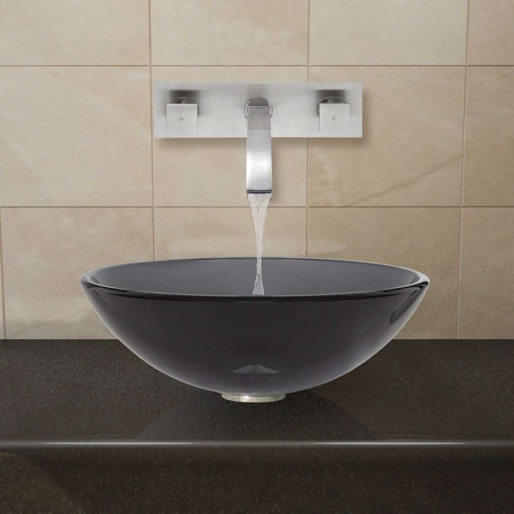 VIGO Sheer Black Glass Vessel Sink and Wall Mount Faucet Set in ...