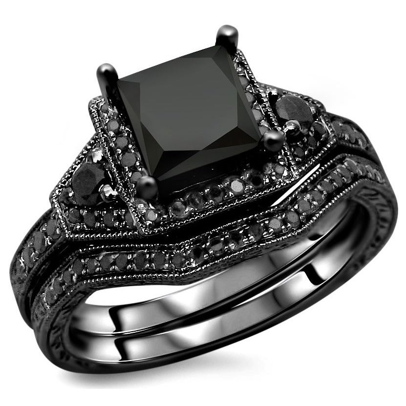 fancy vintage engraved rings engagement antique diamond black style white three stone carat handmade gold ring