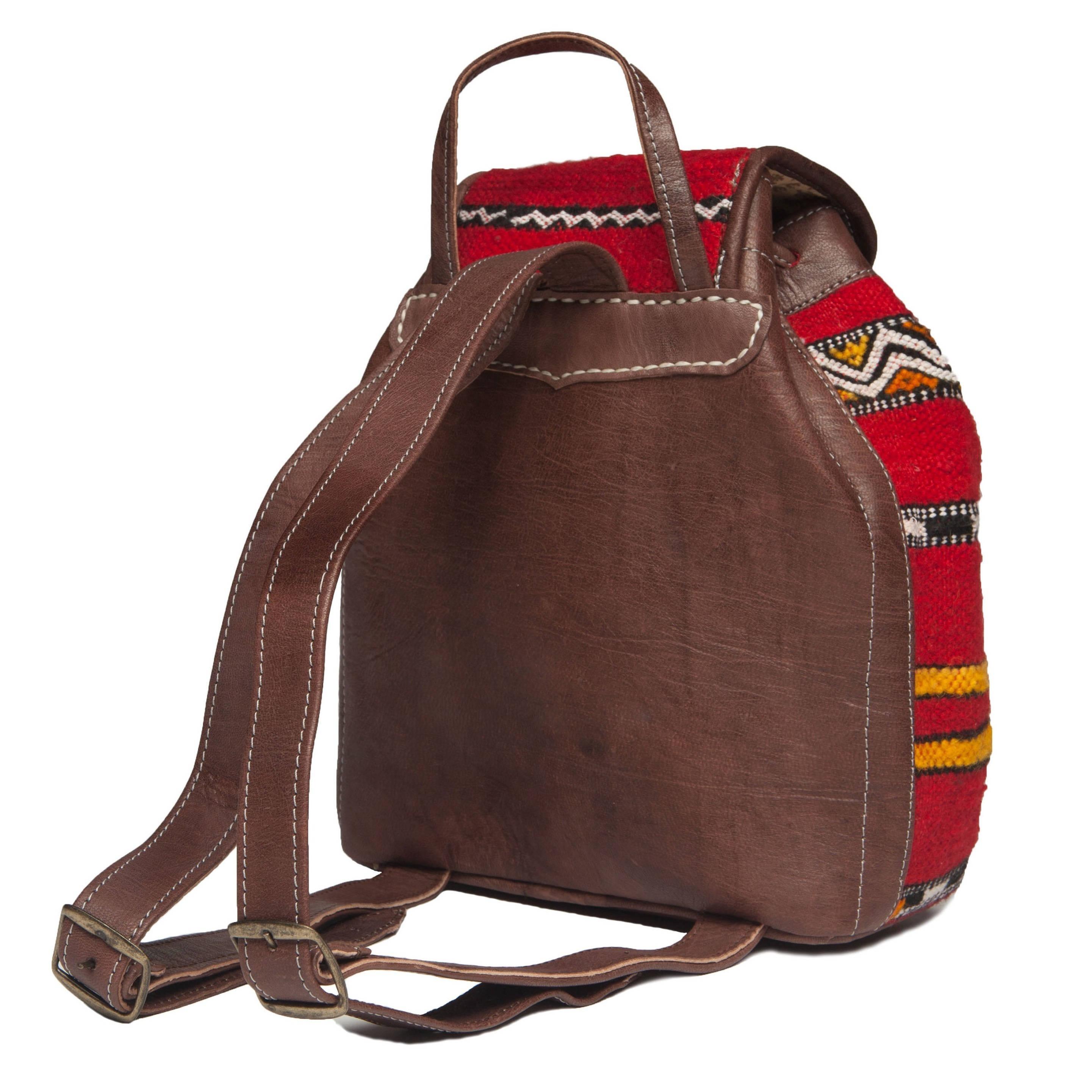 389d5daa2e0 Shop Handmade Leather and Kilim Backpack (Morocco) - Free Shipping ...