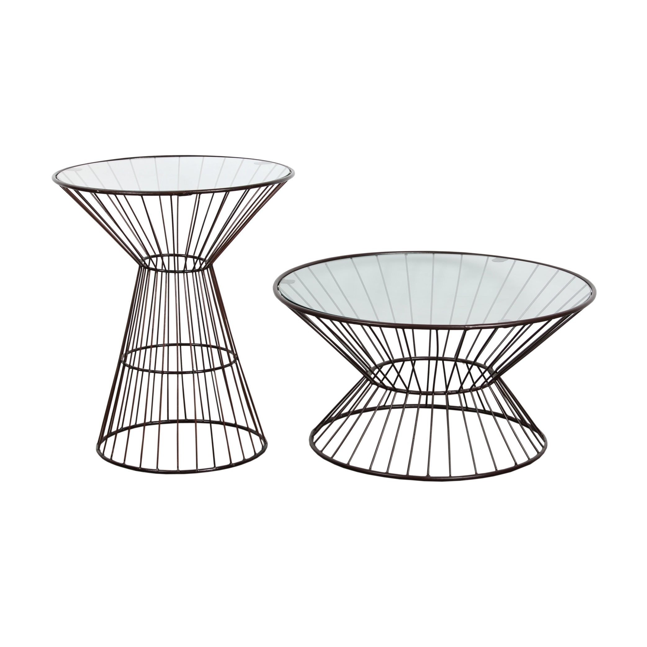 Bronze Wire Frame Tall Side Table With Gl Top On Free Shipping Today 8529475