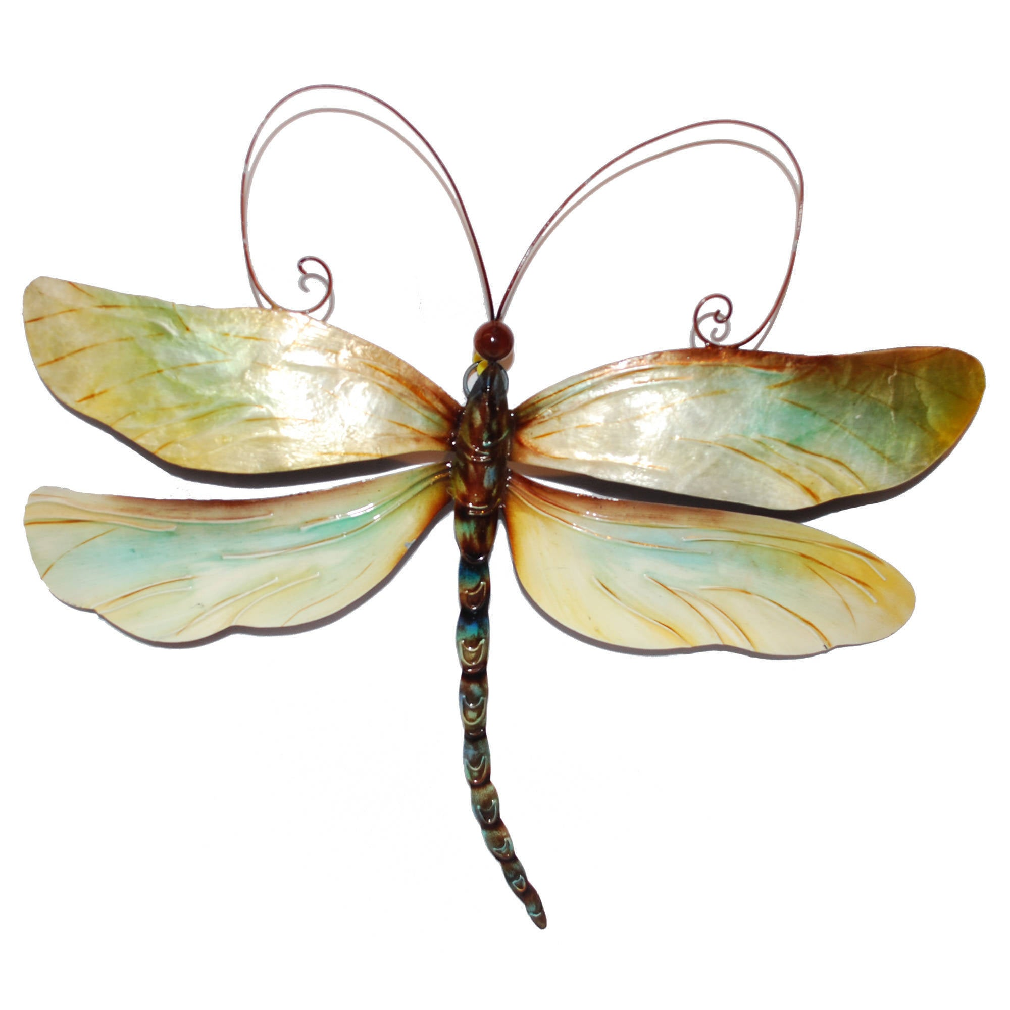 Amazing Metal And Capiz Dragonfly Wall Decor , Handmade In Philippines   Free  Shipping On Orders Over $45   Overstock   15812558