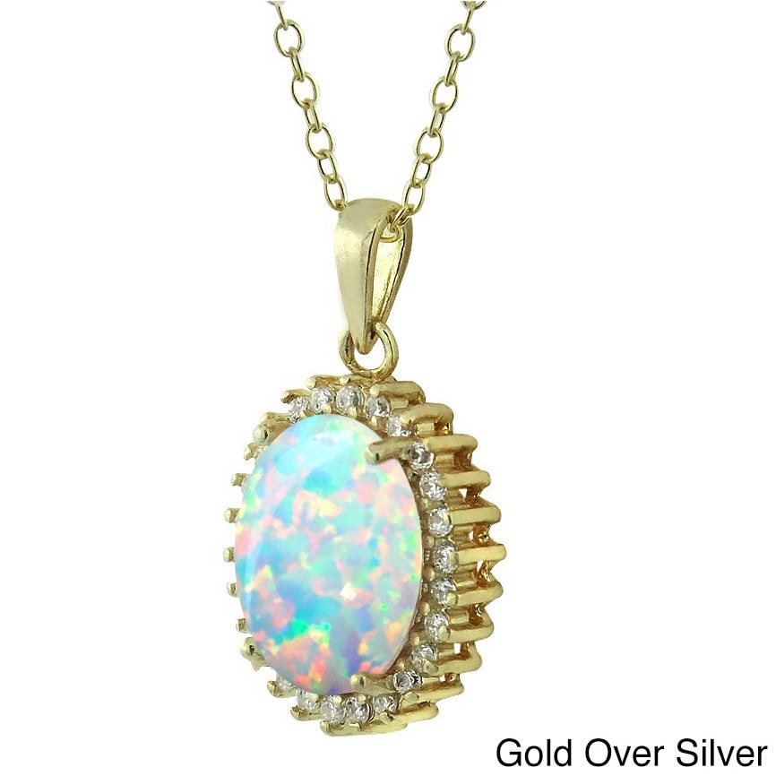 57e6c0b17b32d2 Shop Glitzy Rocks Sterling Silver Created Opal and Cubic Zirconia Necklace  - On Sale - Free Shipping On Orders Over $45 - Overstock - 8533394