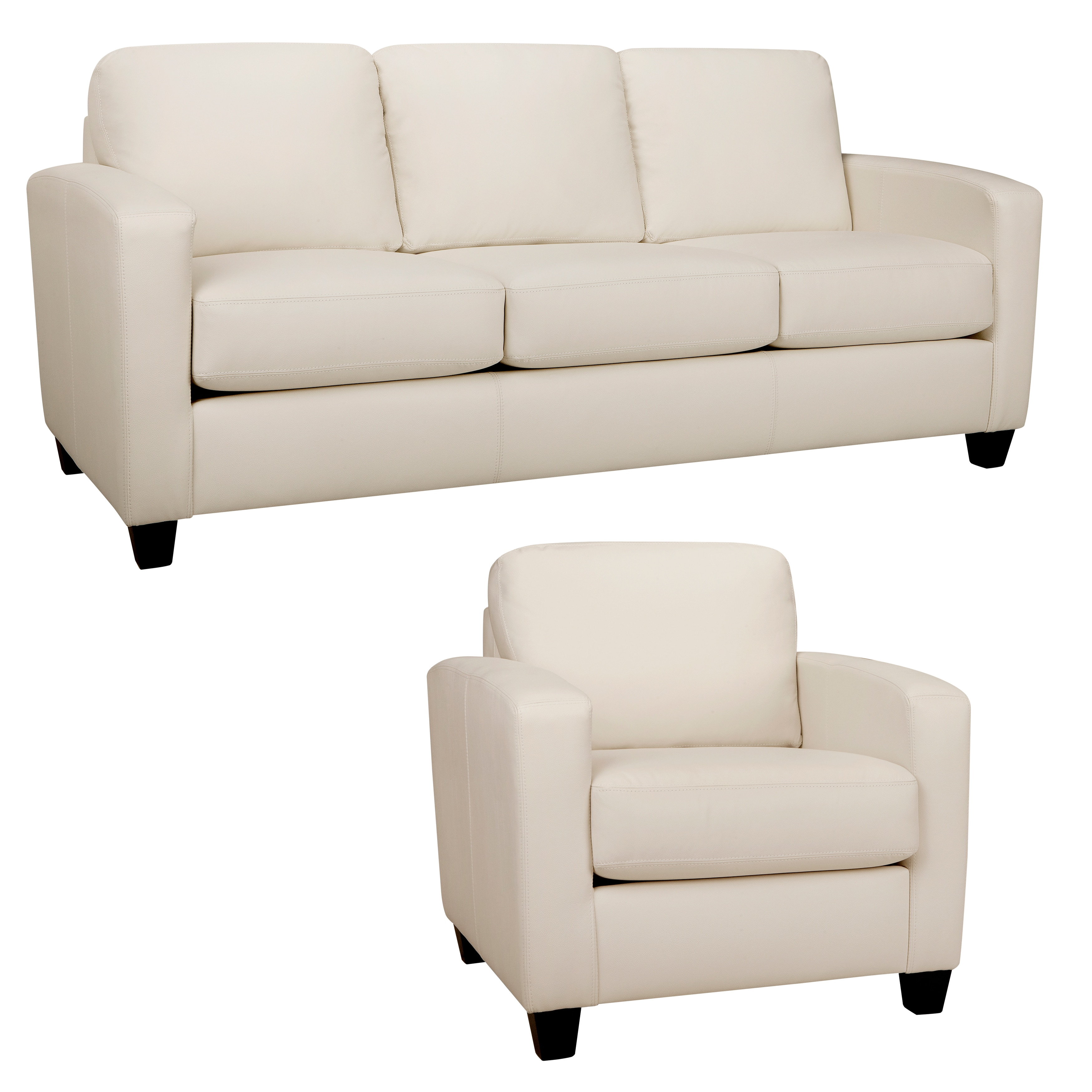 Bryce White Italian Leather Sofa And Chair On Free Shipping Today 8533436