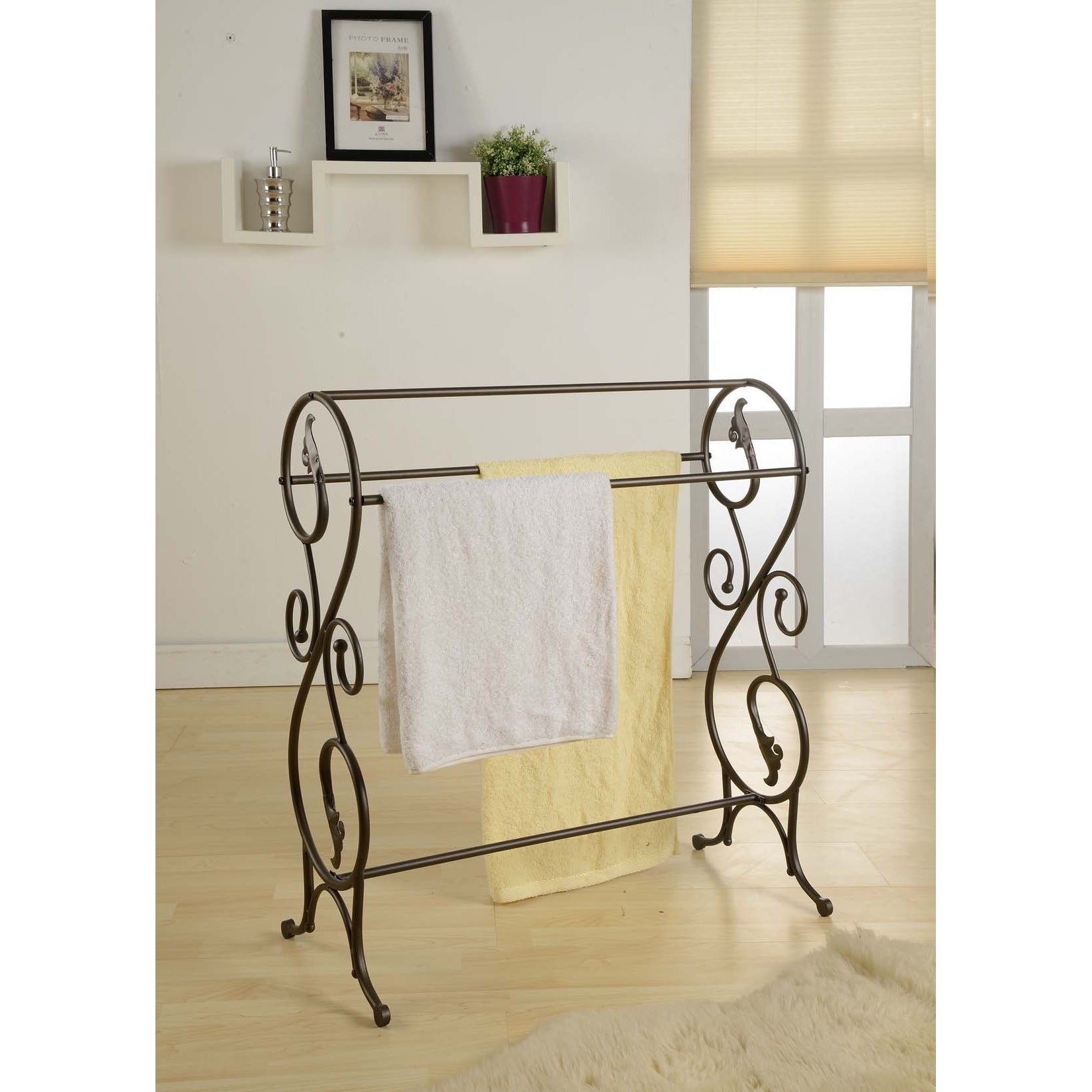 Shop K And B Antique Pewter Standing Towel Rack Free Shipping