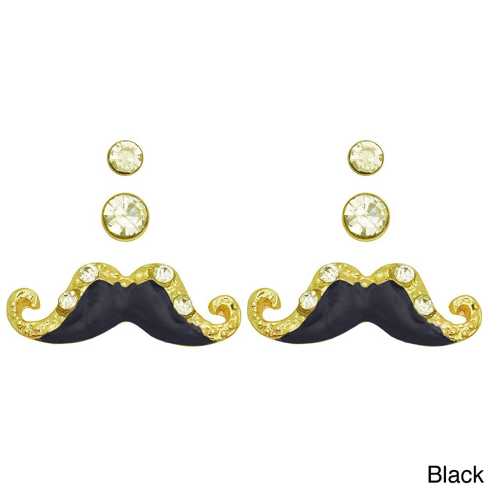 Kate Marie Goldtone Mustache Earrings Set Of 3 Free Shipping On Orders Over 45 8534306
